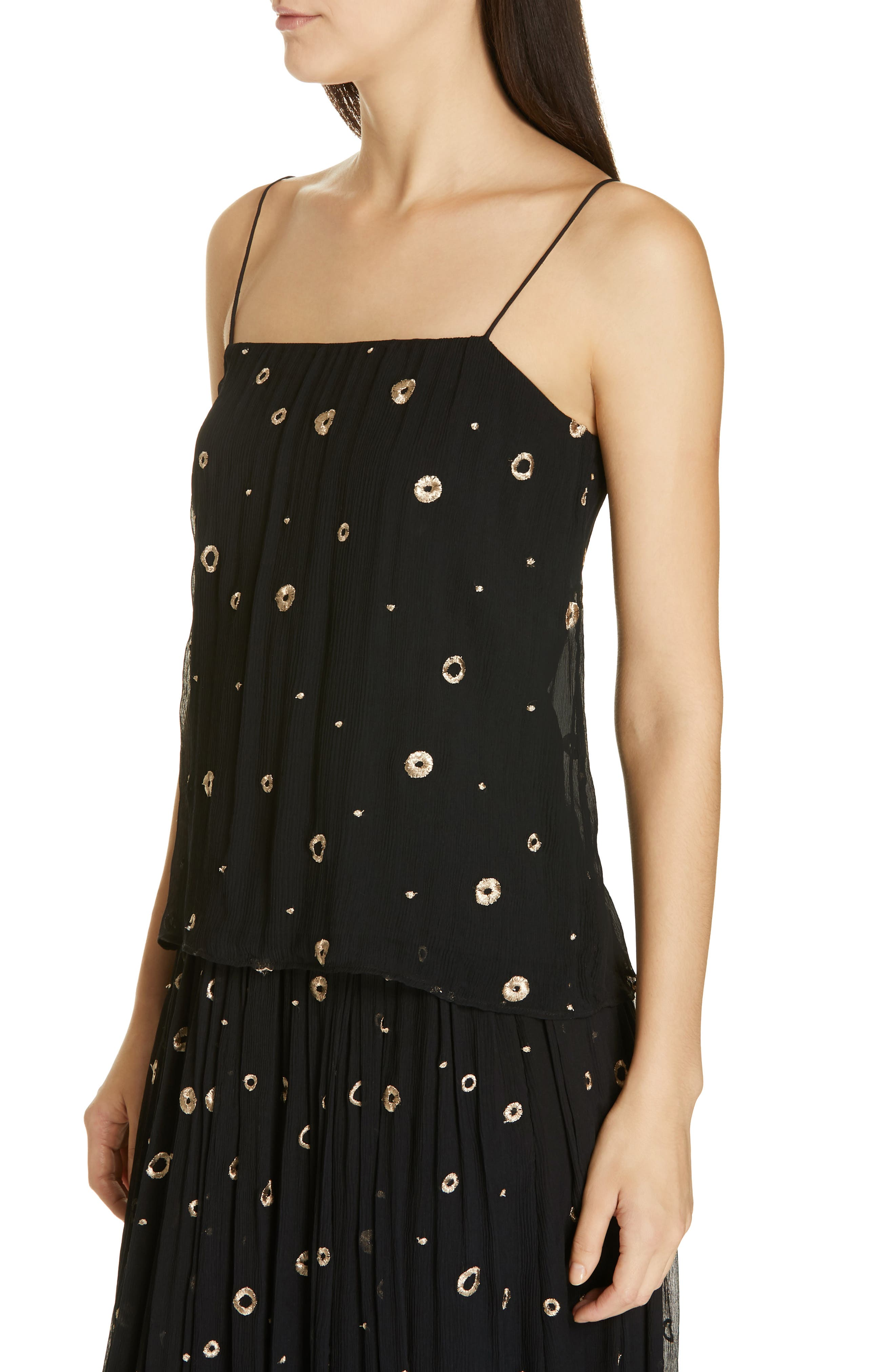 VINCE, Open Dot Metallic Embroidered Silk Camisole, Alternate thumbnail 4, color, BLACK