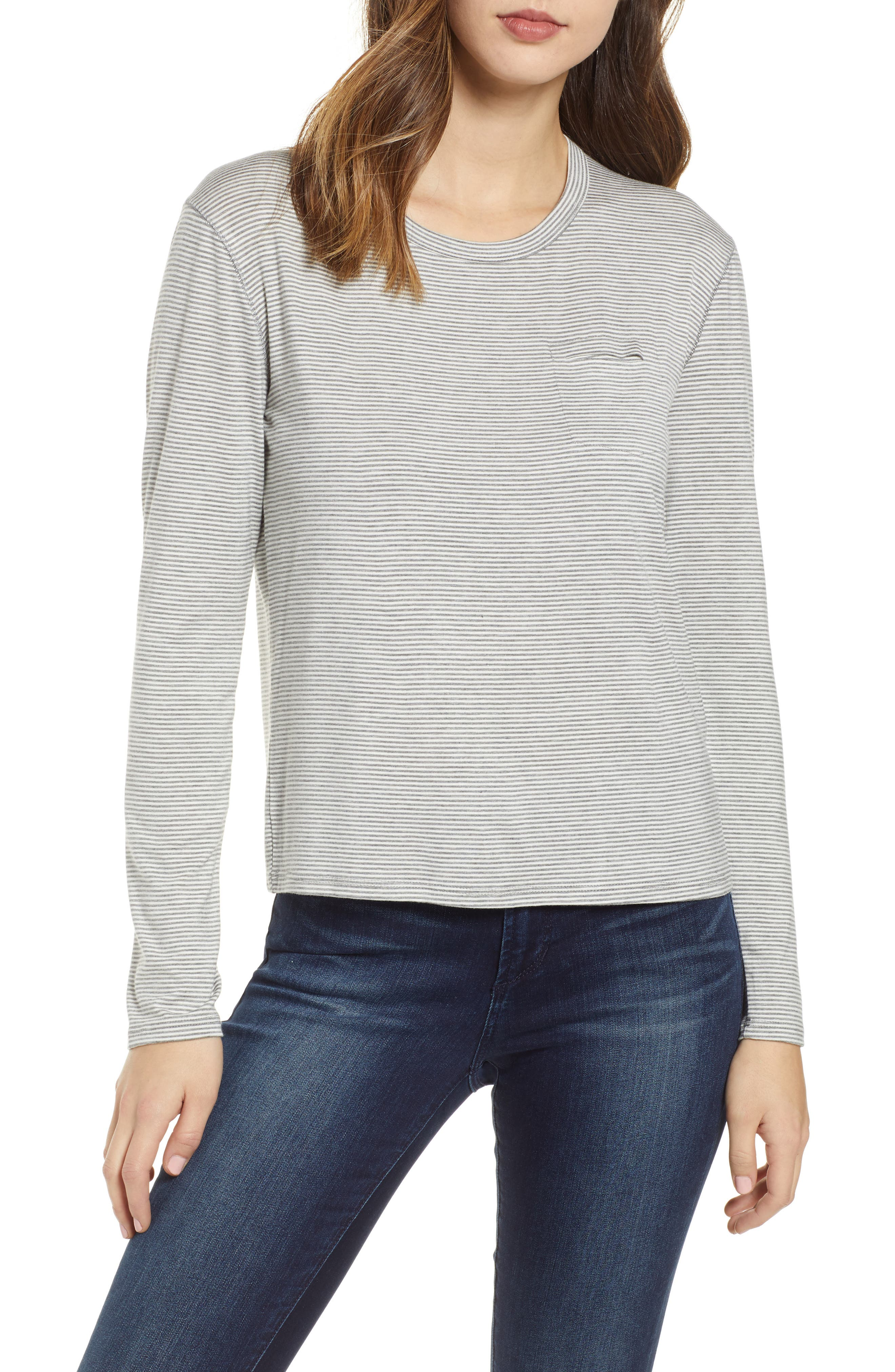 PROJECT SOCIAL T, Heathered Stripe Tee, Main thumbnail 1, color, GREY/ WHITE