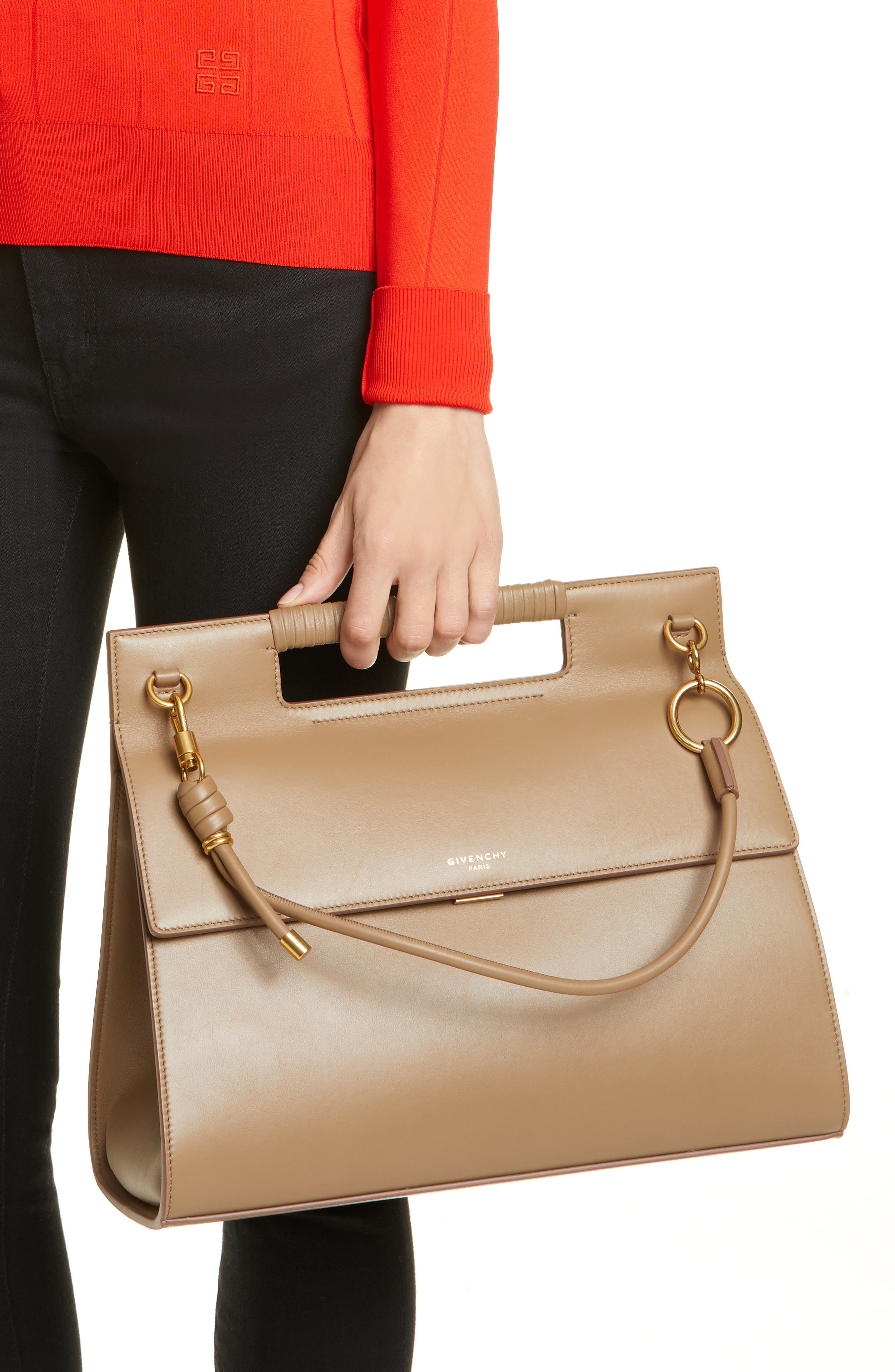 GIVENCHY, Whip Large Leather Satchel, Alternate thumbnail 3, color, TAUPE
