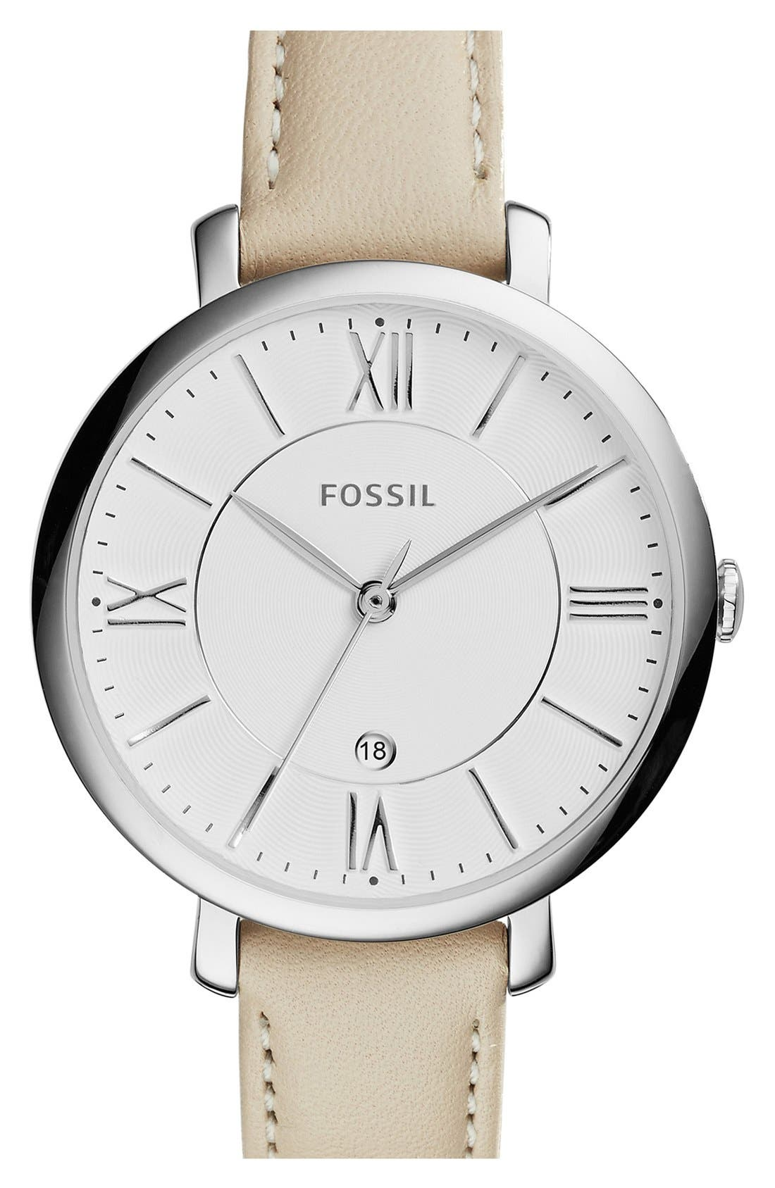 FOSSIL, 'Jacqueline' Round Leather Strap Watch, 36mm, Main thumbnail 1, color, WHITE/ SILVER