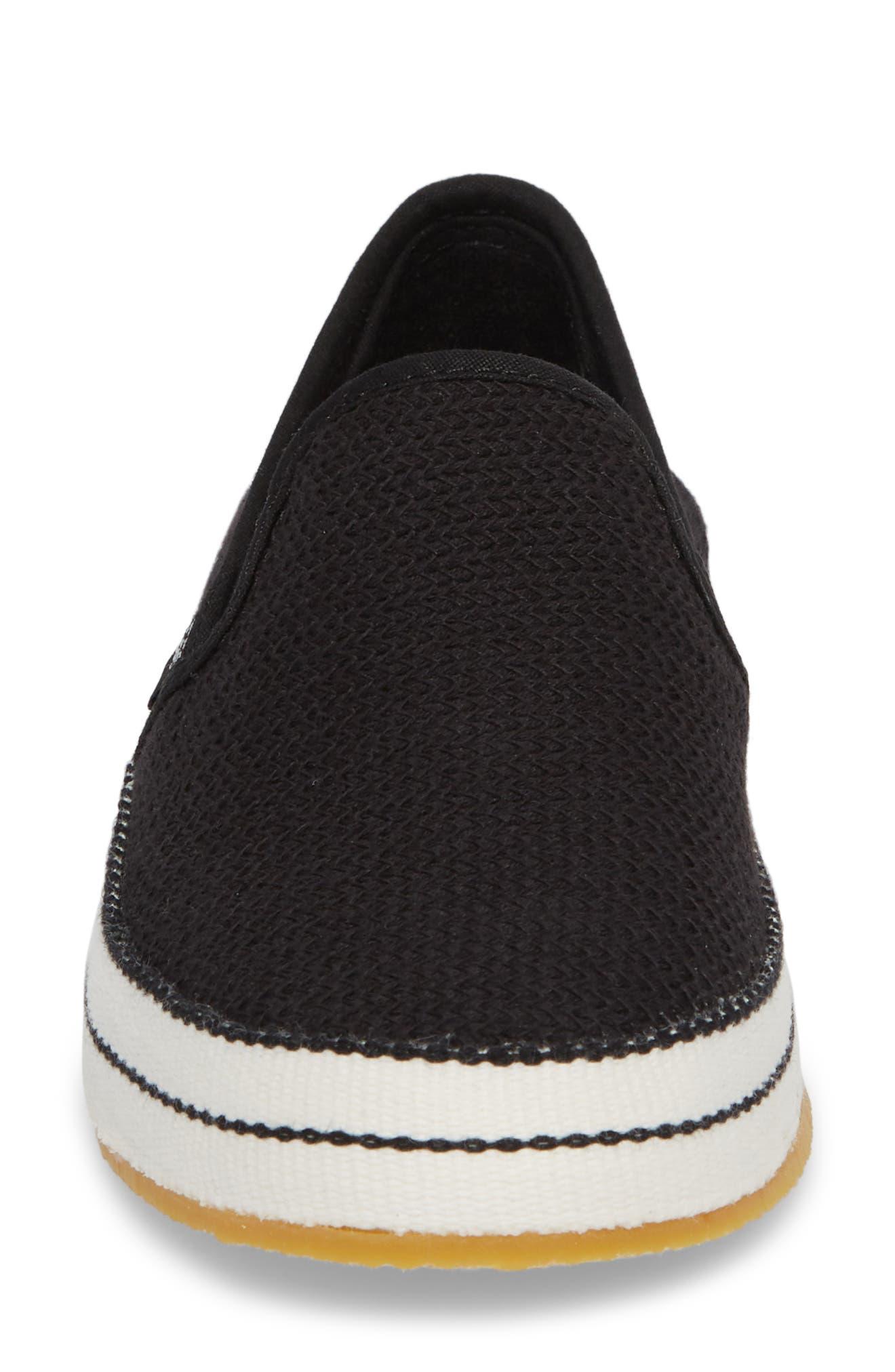 UGG<SUP>®</SUP>, Bren Slip-On Sneaker, Alternate thumbnail 4, color, BLACK