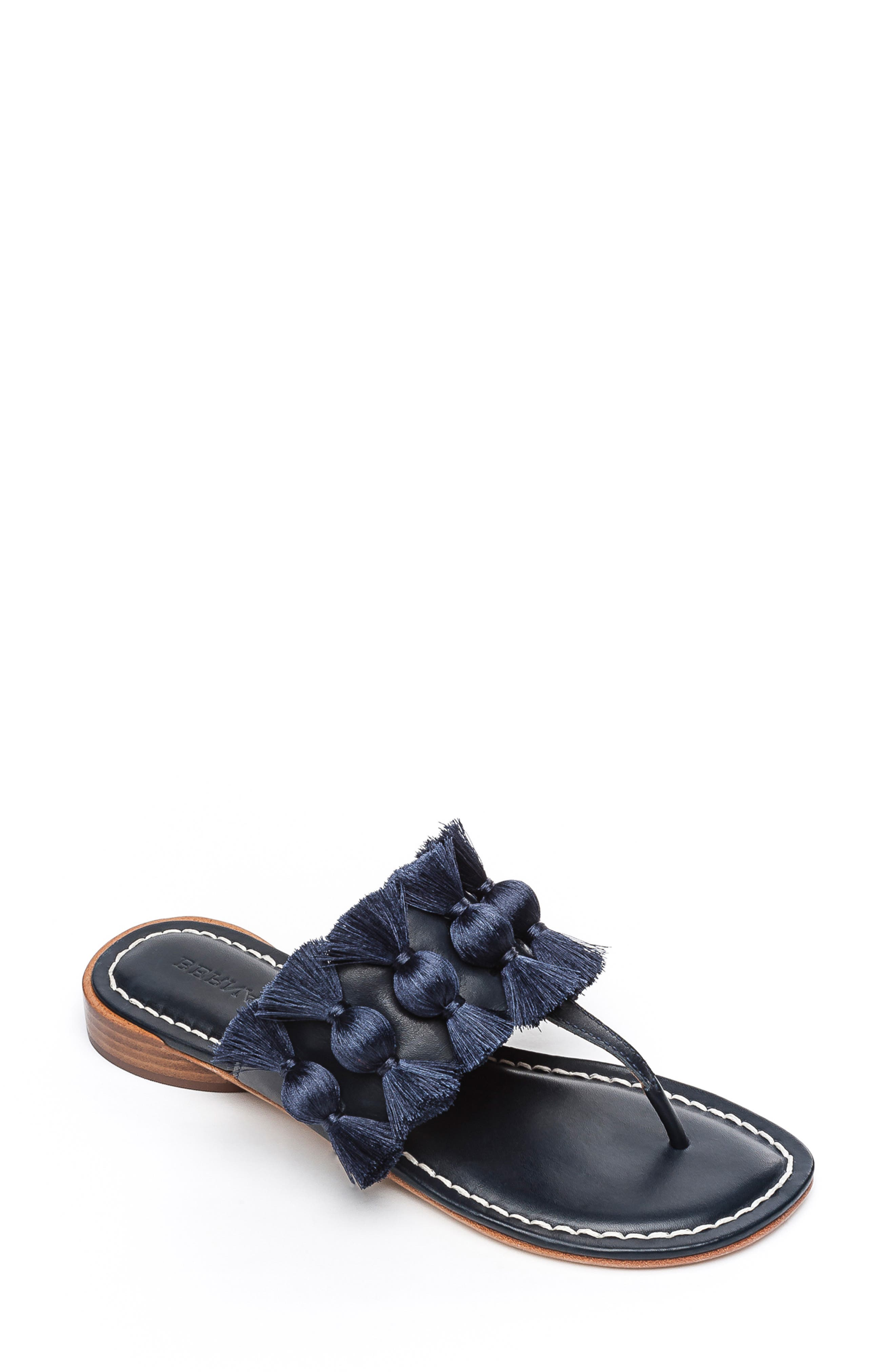 BERNARDO Footwear Tara Flip Flop, Main, color, NAVY ANTIQUE LEATHER