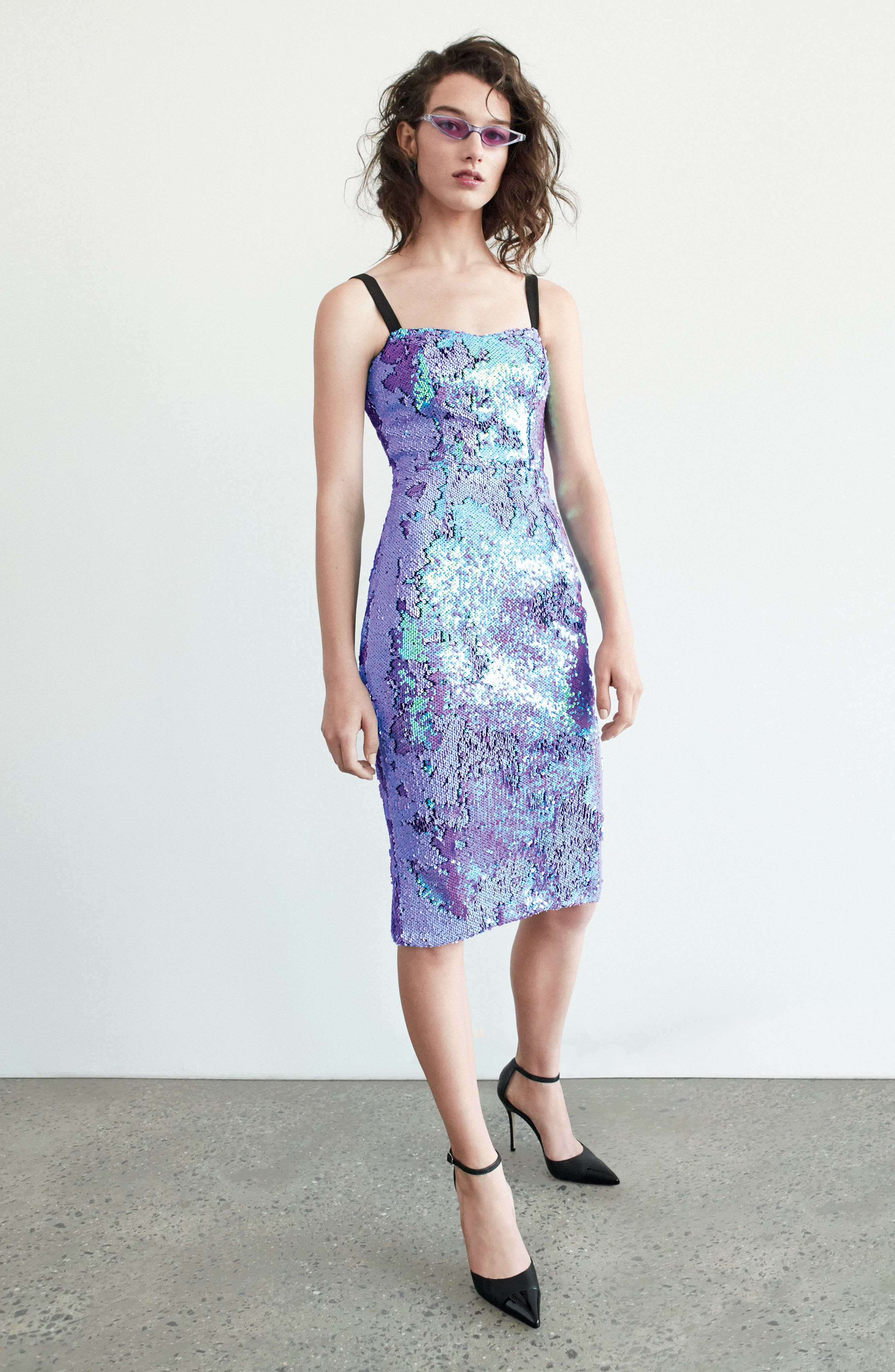 DRESS THE POPULATION, Lynda Iridescent Sequin Sheath Dress, Alternate thumbnail 9, color, ULTRA VIOLET
