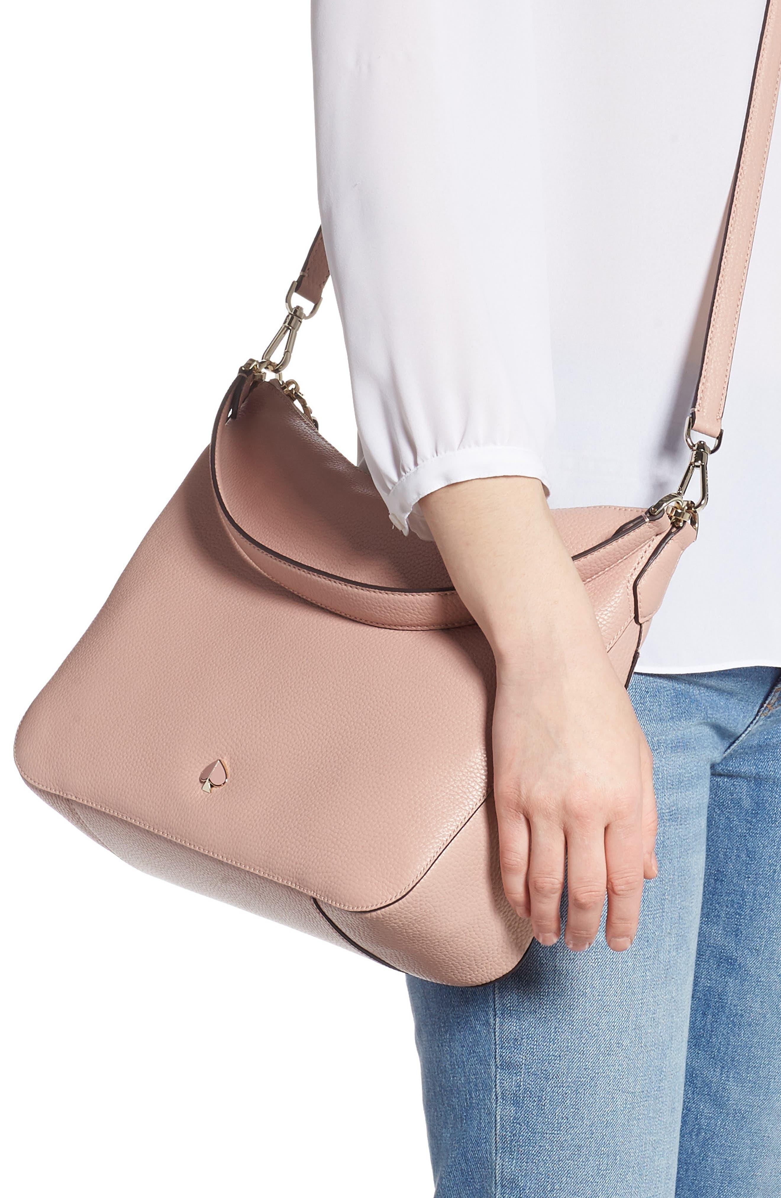 KATE SPADE NEW YORK, medium polly leather shoulder bag, Alternate thumbnail 2, color, FLAPPER PINK