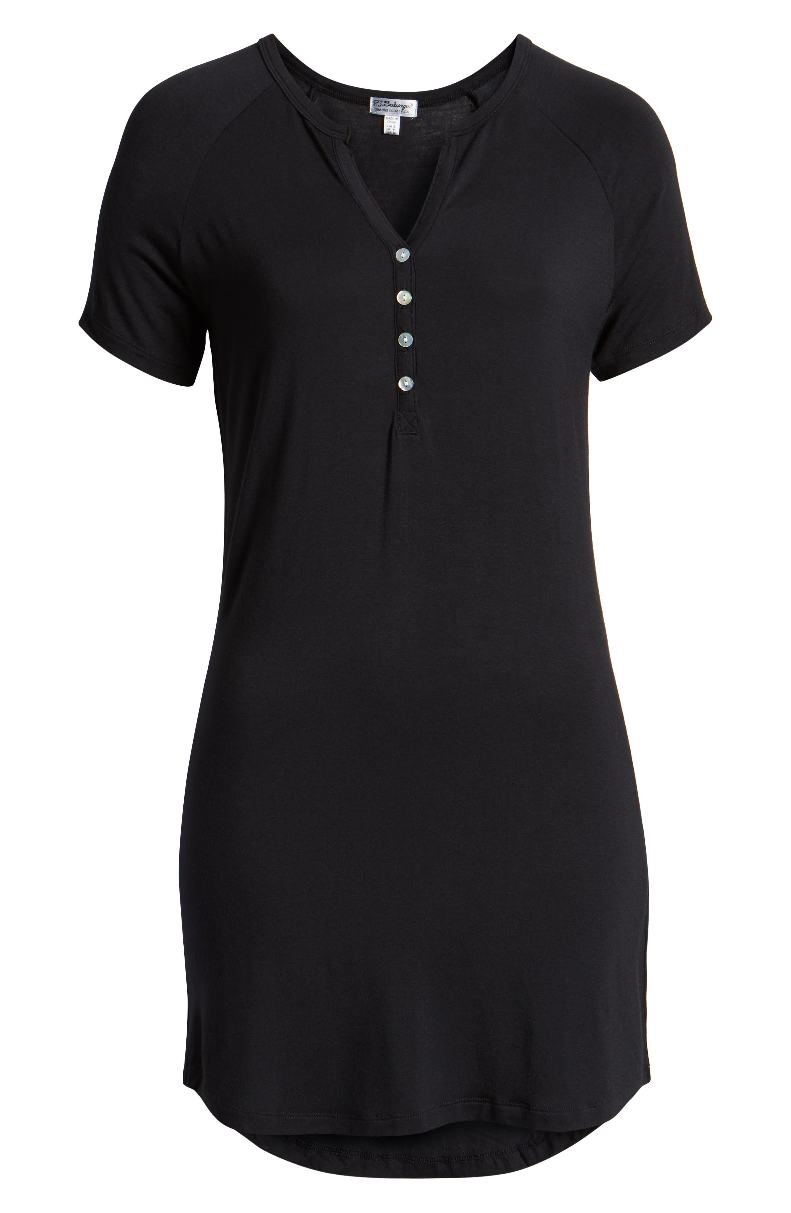PJ SALVAGE, Sleep Shirt, Alternate thumbnail 6, color, BLACK