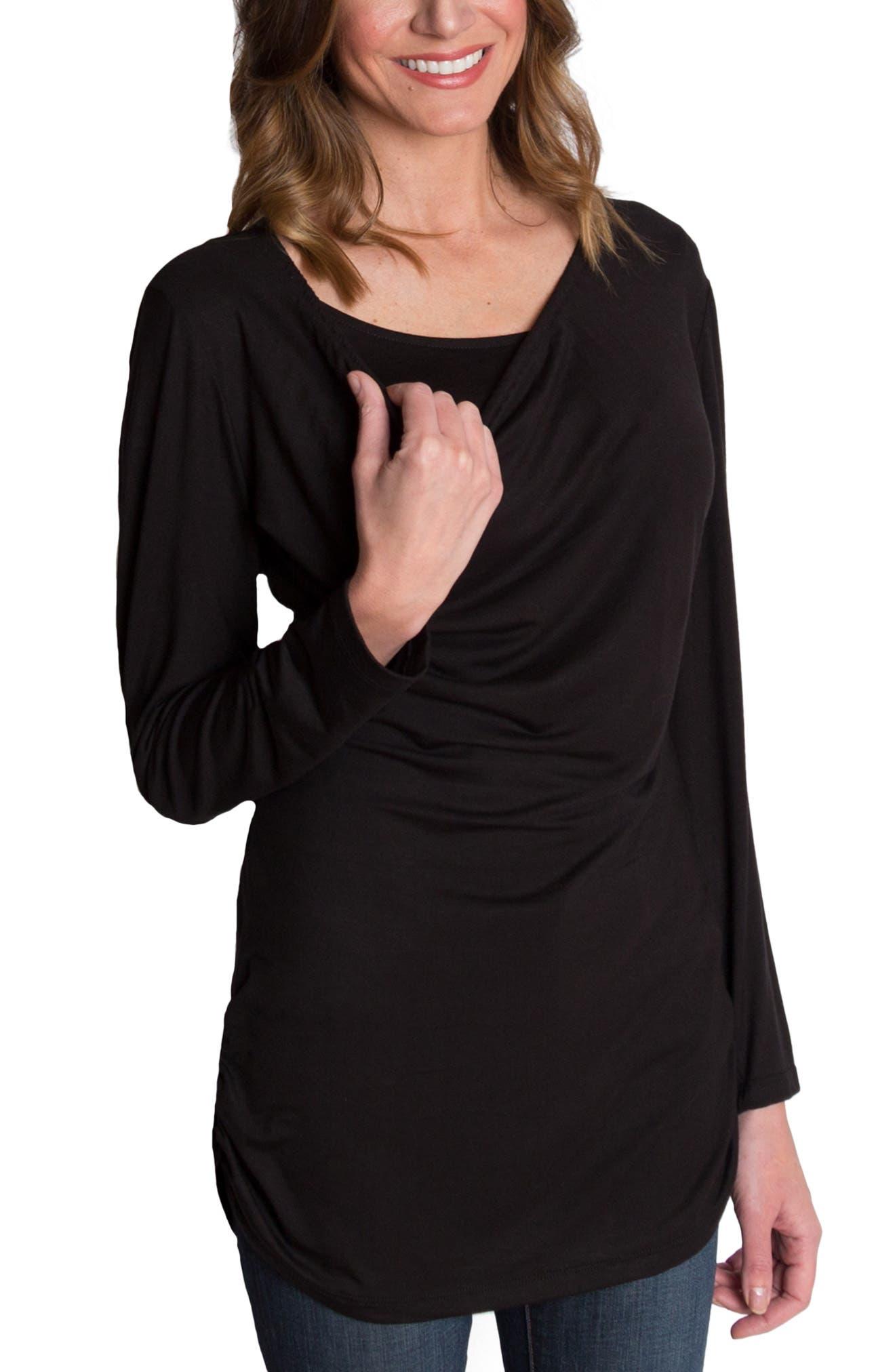 UDDERLY HOT MAMA, 'Luxe' Long Sleeve Nursing Tee, Alternate thumbnail 5, color, BLACK