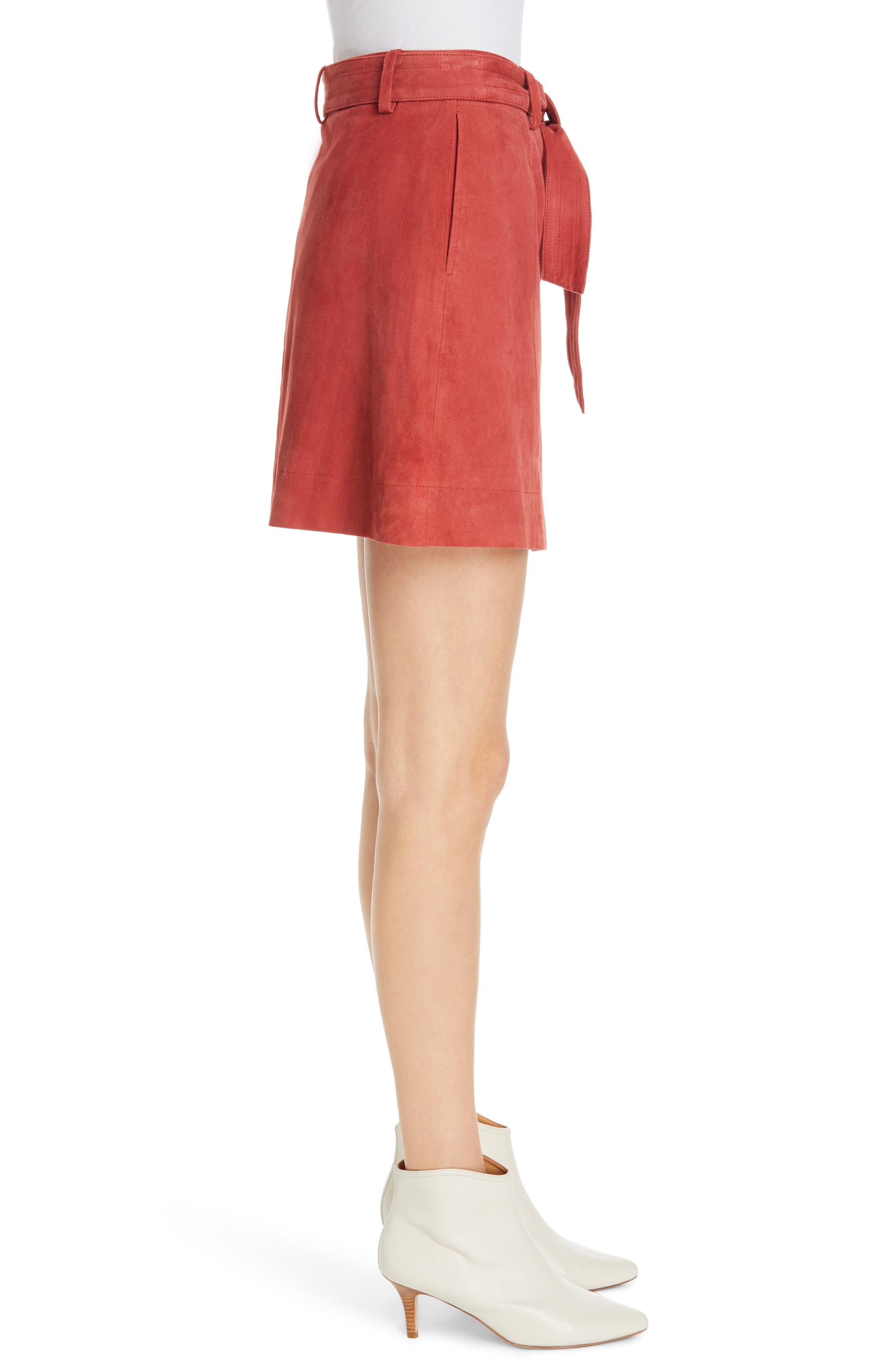 JOIE, Neida Suede Miniskirt, Alternate thumbnail 3, color, DESERT SPICE