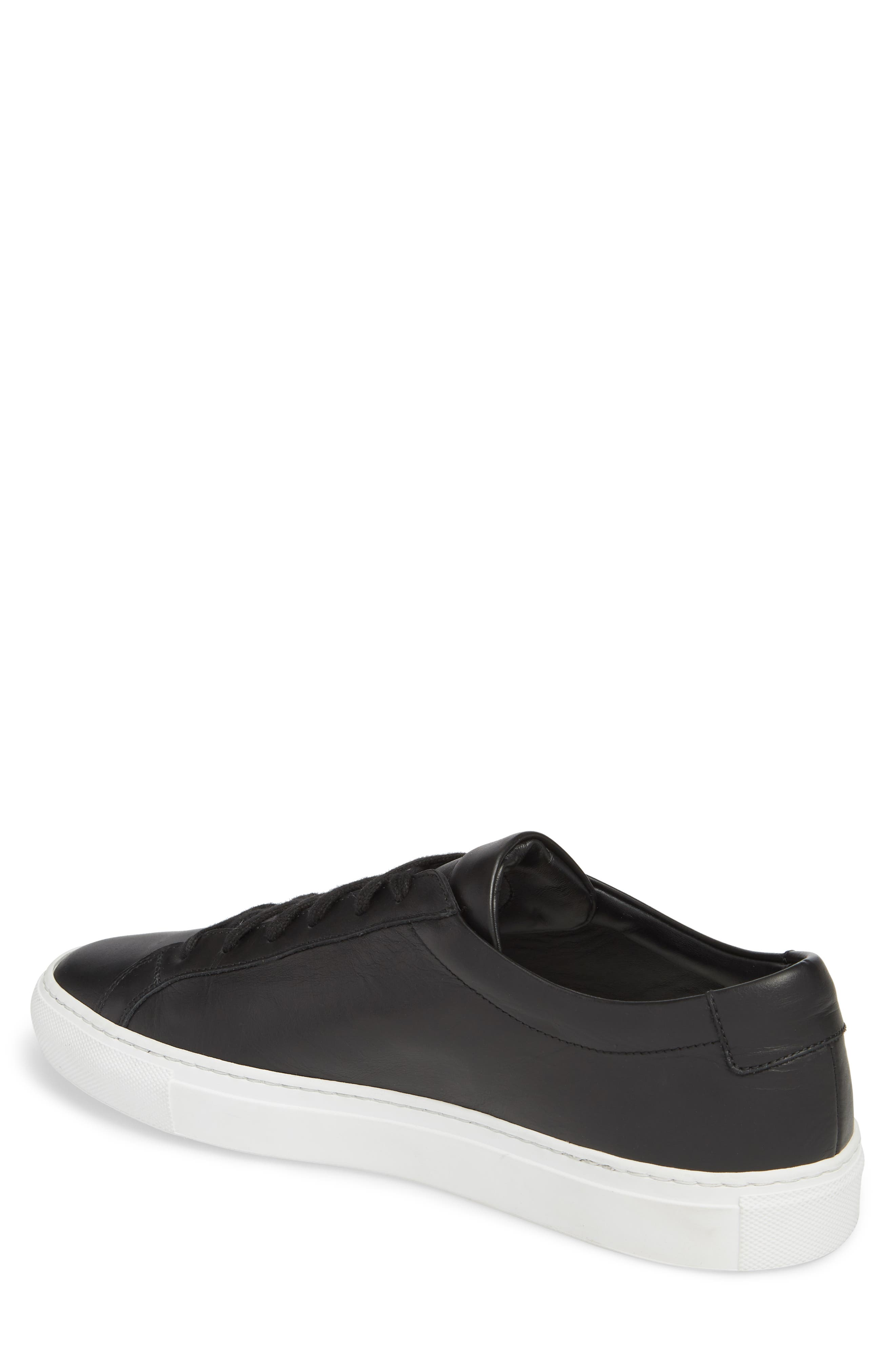 COMMON PROJECTS, Achilles Low Sneaker, Alternate thumbnail 2, color, BLACK LEATHER