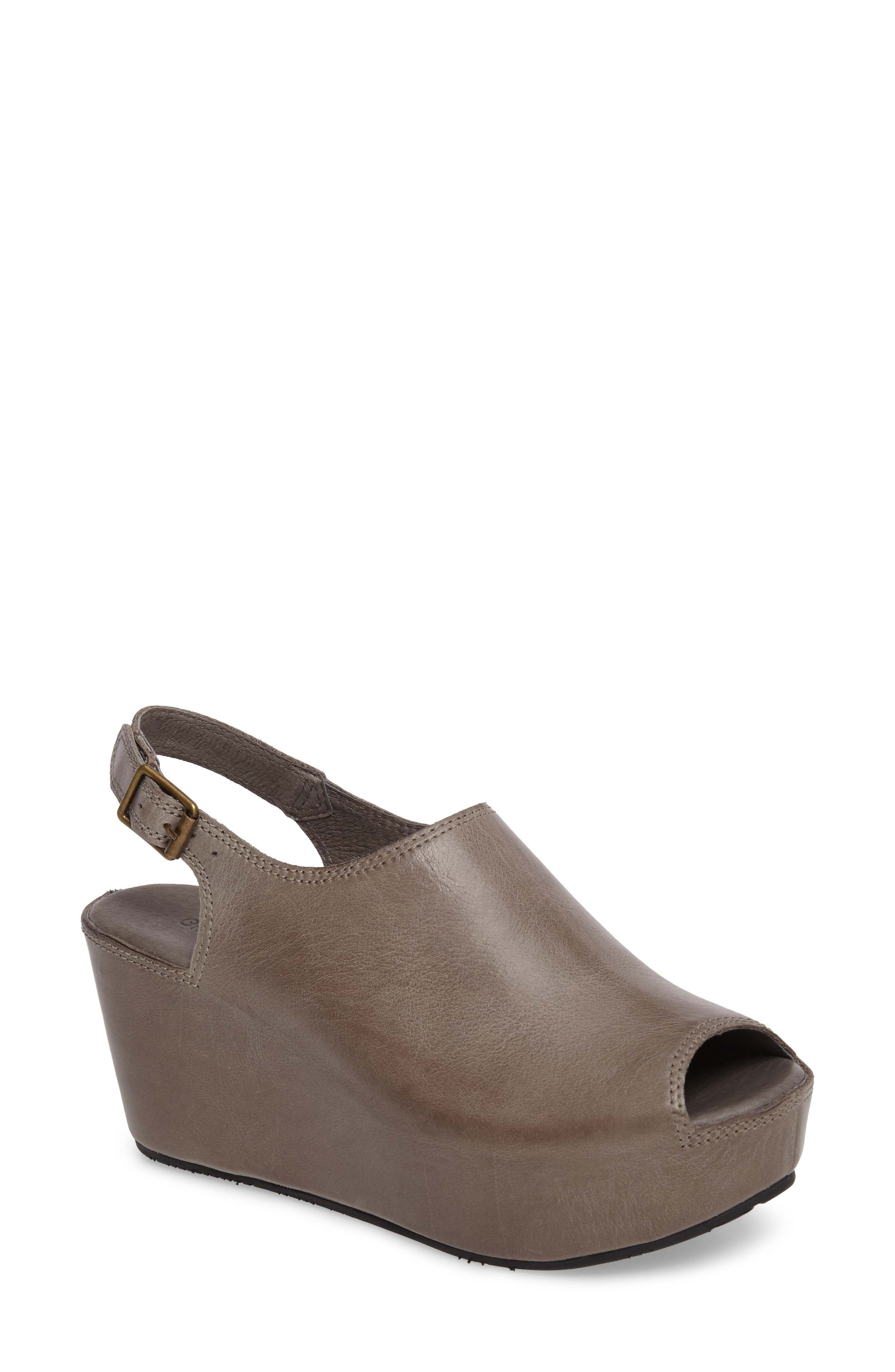 CHOCOLAT BLU, Willow Slingback Wedge, Main thumbnail 1, color, GRAPHITE LEATHER