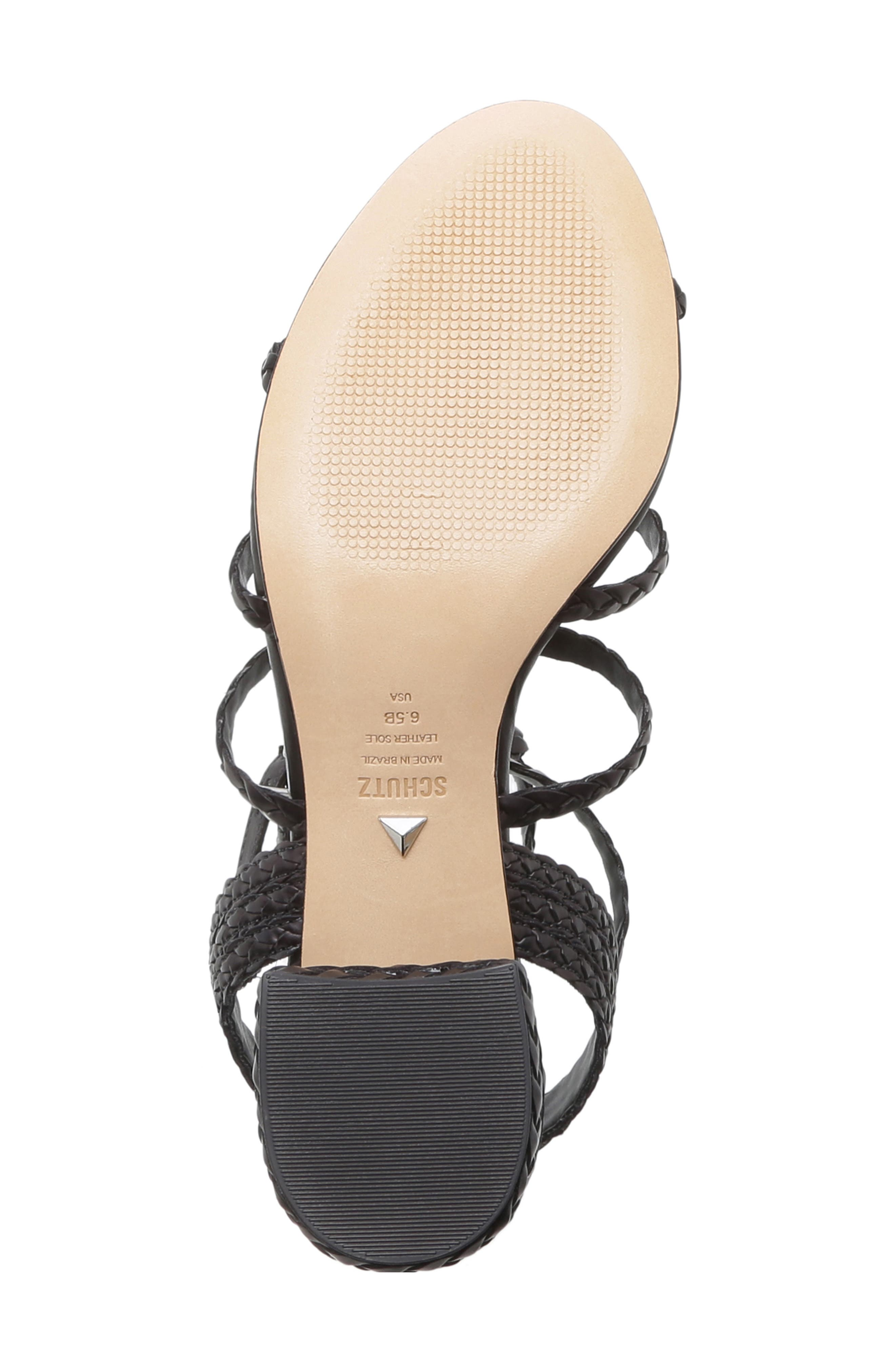 SCHUTZ, Rosalia Block Heel Sandal, Alternate thumbnail 6, color, BLACK LEATHER