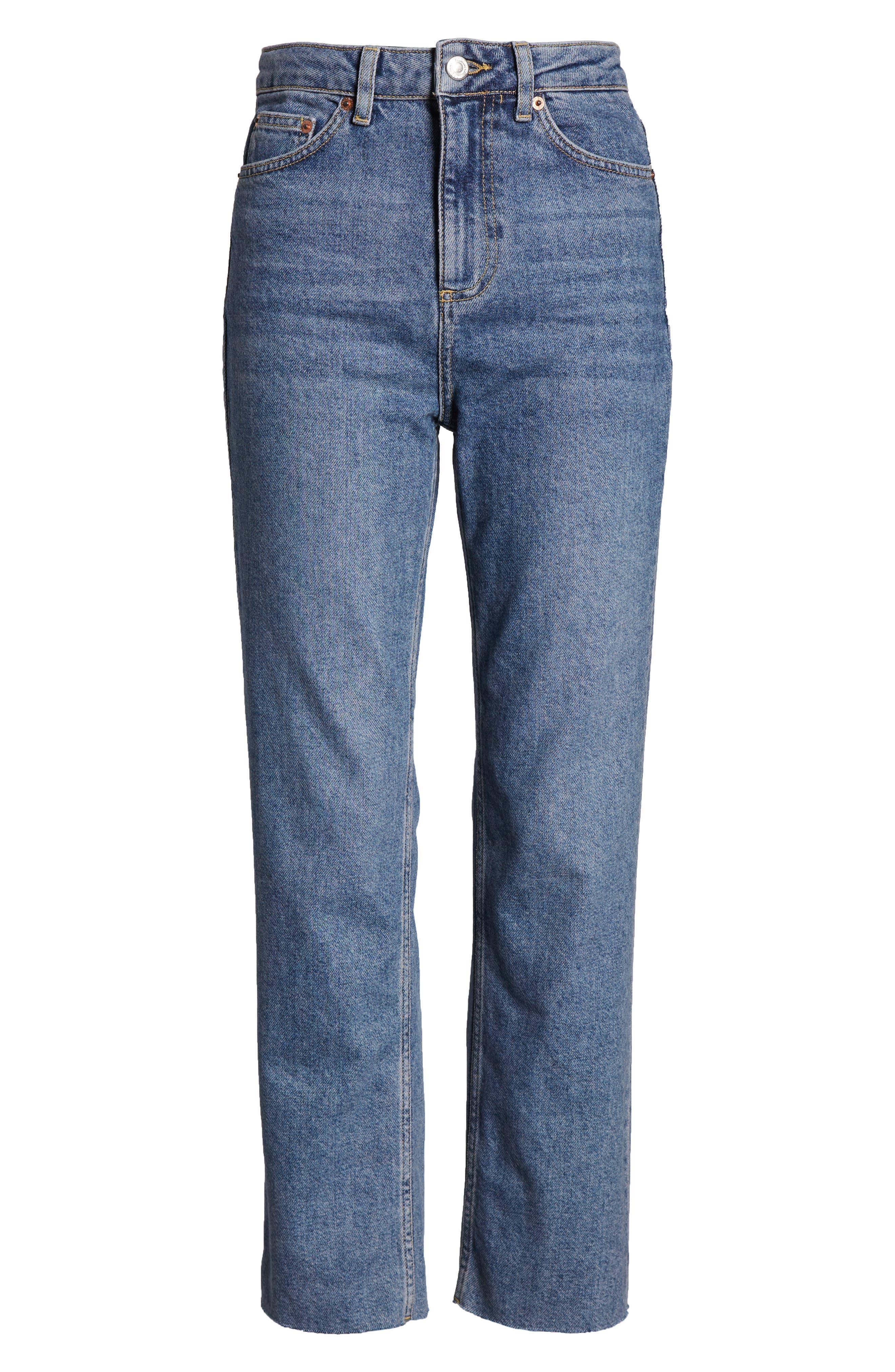 TOPSHOP, Raw Hem Straight Leg Jeans, Alternate thumbnail 7, color, MID BLUE