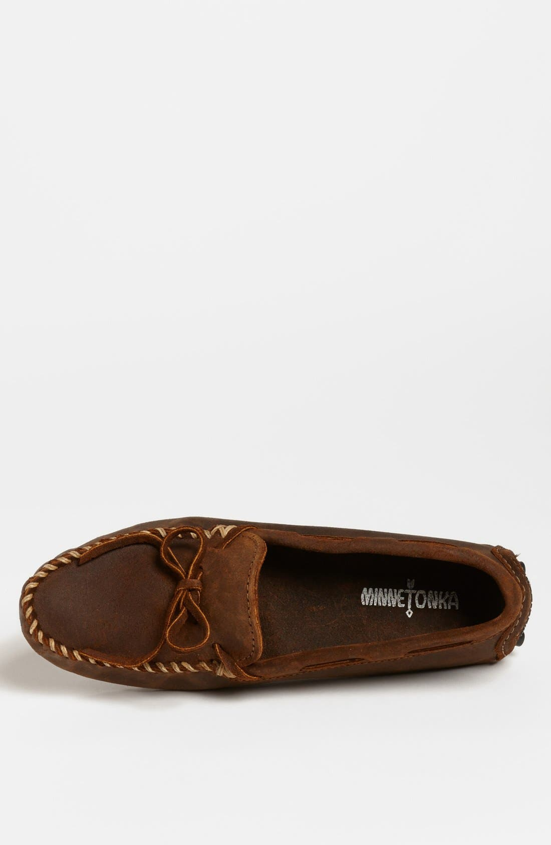 MINNETONKA, Suede Driving Shoe, Alternate thumbnail 4, color, BROWN