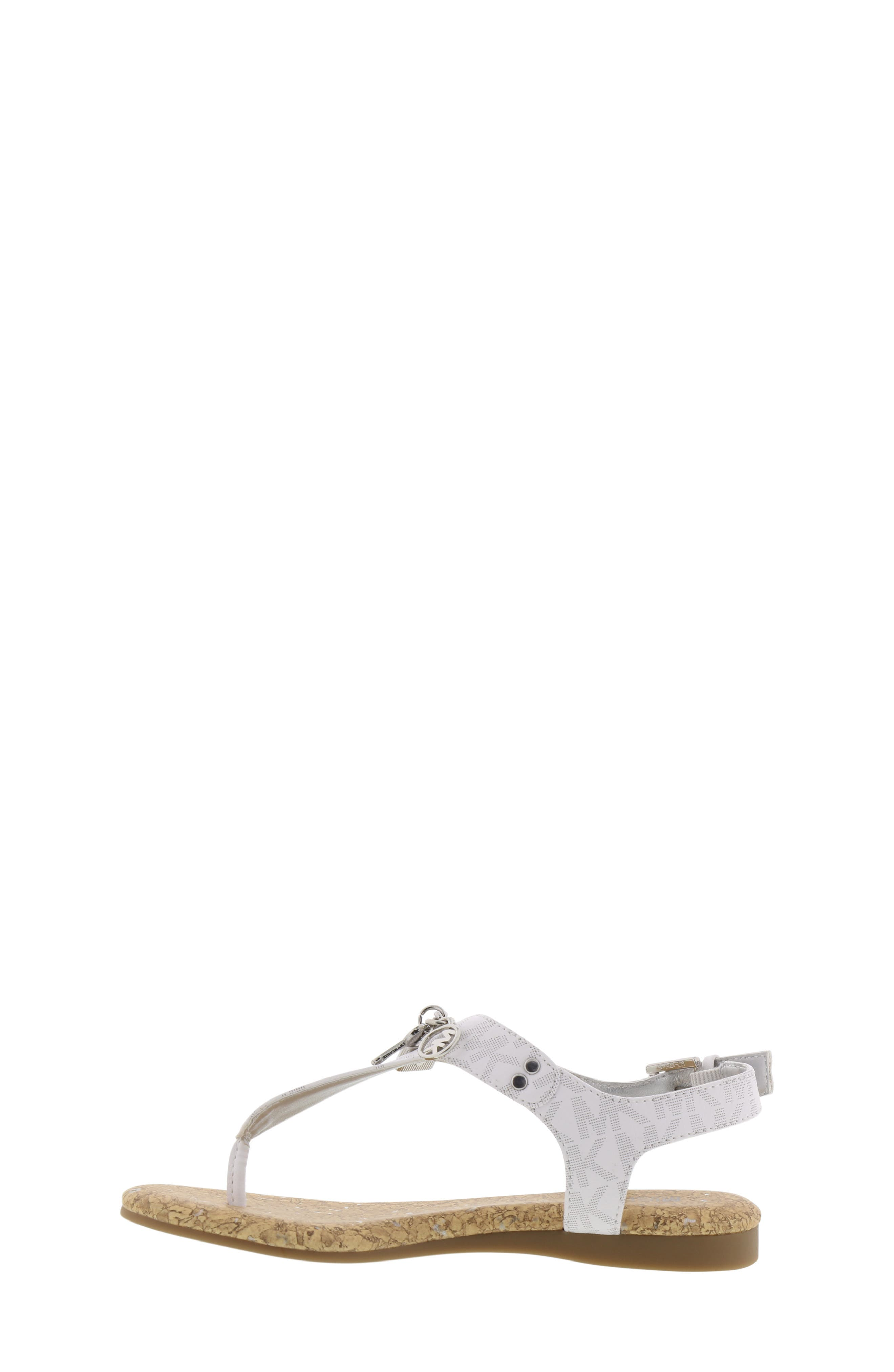 MICHAEL MICHAEL KORS, Tilly Cora Charm T-Strap Sandal, Alternate thumbnail 8, color, WHITE LOGO