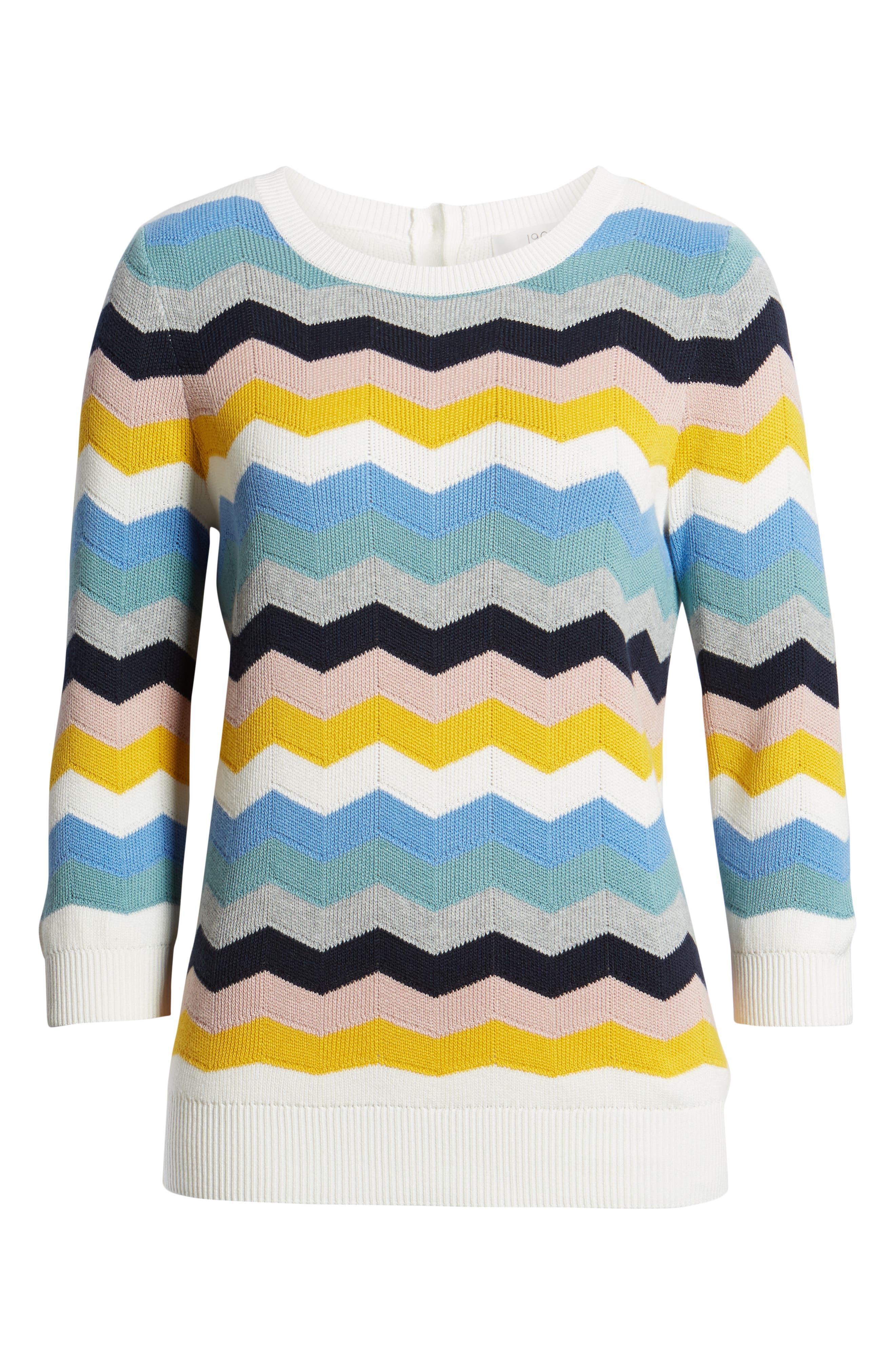 1901, Chevron Jacquard Sweater, Alternate thumbnail 6, color, BLUE MULTI CHEVRON PATTERN