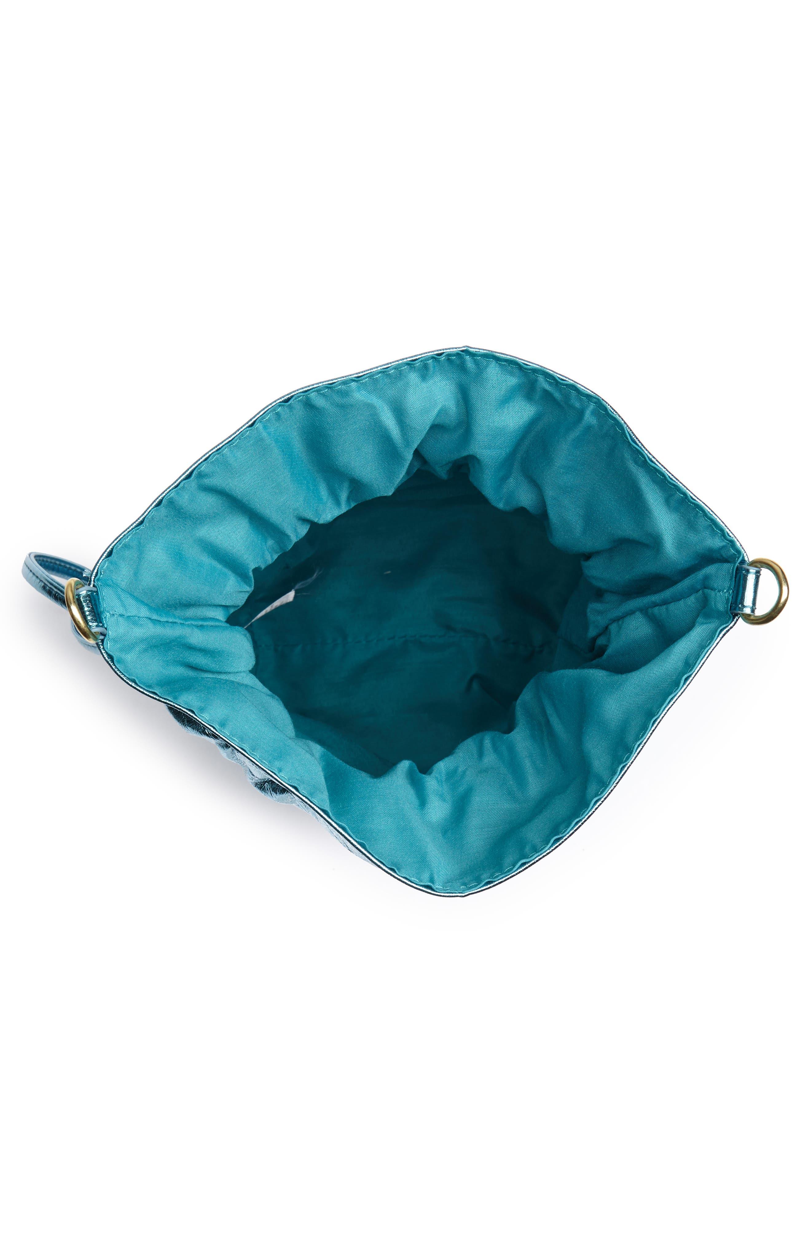 LEITH, Mini Slouch Drawstring Bag, Alternate thumbnail 5, color, BLUE METALLIC