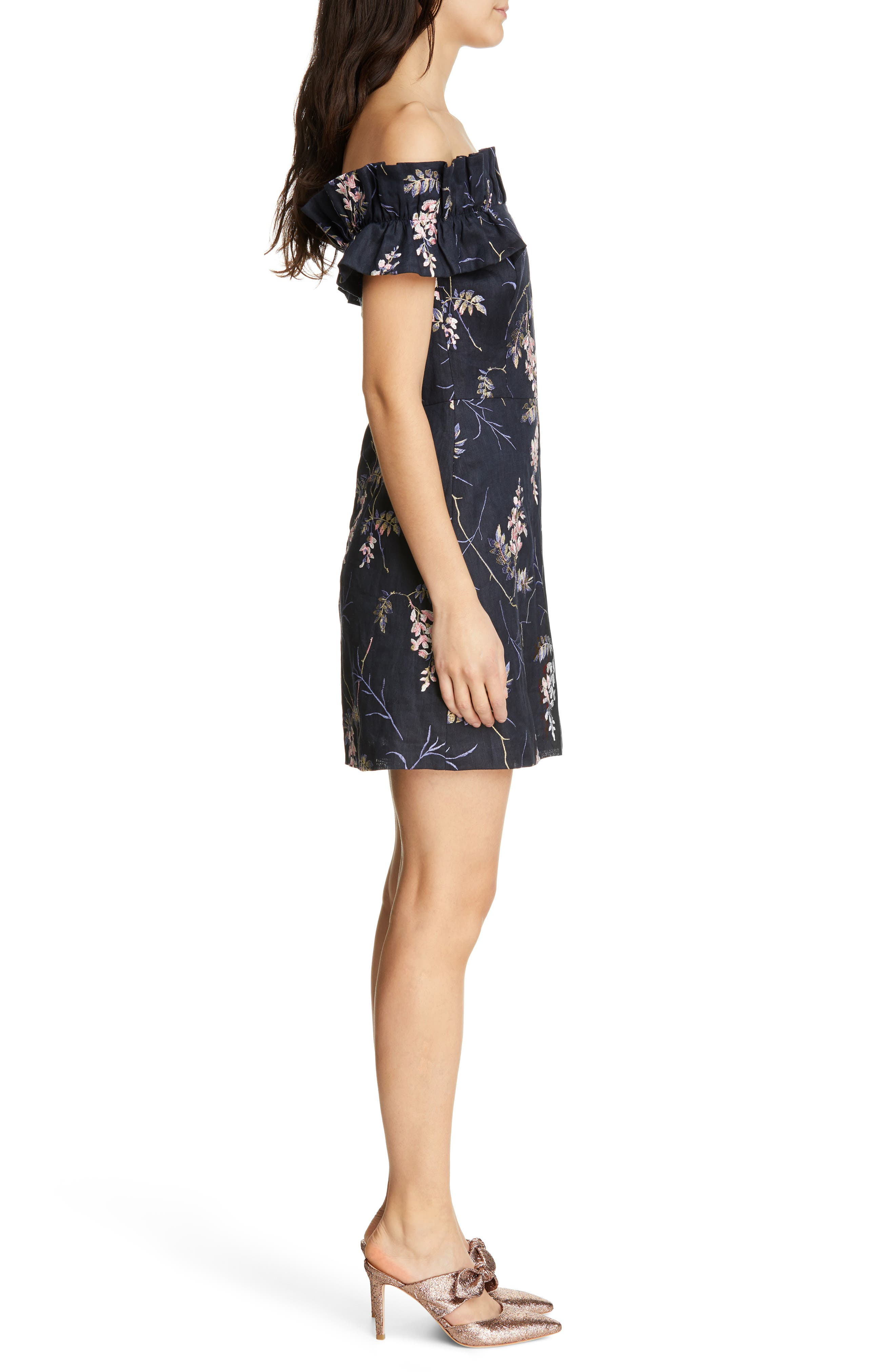 REBECCA TAYLOR, Ivie Off the Shoulder Embroidered Detail Linen Dress, Alternate thumbnail 3, color, NAVY COMBO