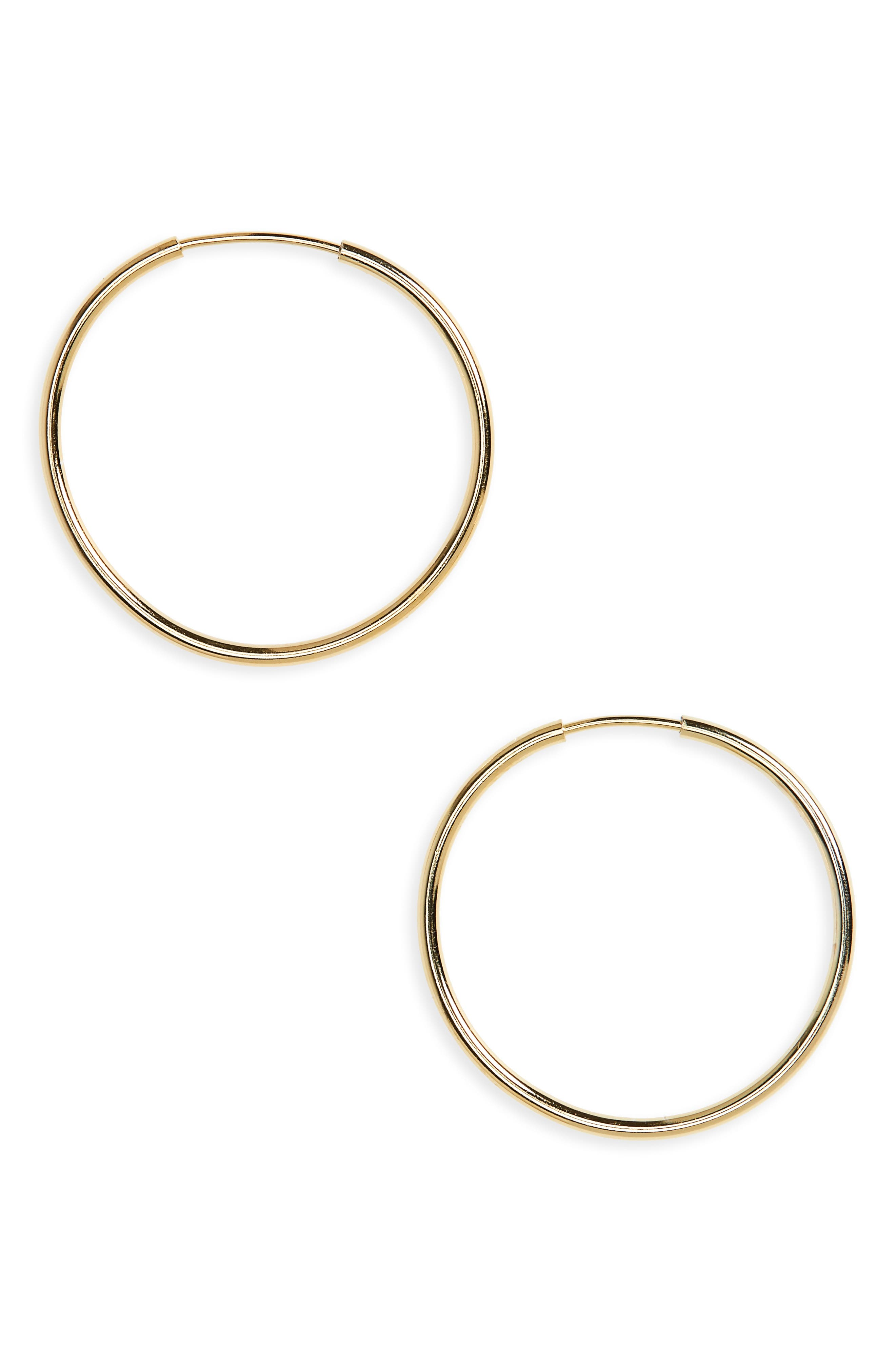 ARGENTO VIVO, Endless Hoop Earrings, Main thumbnail 1, color, GOLD