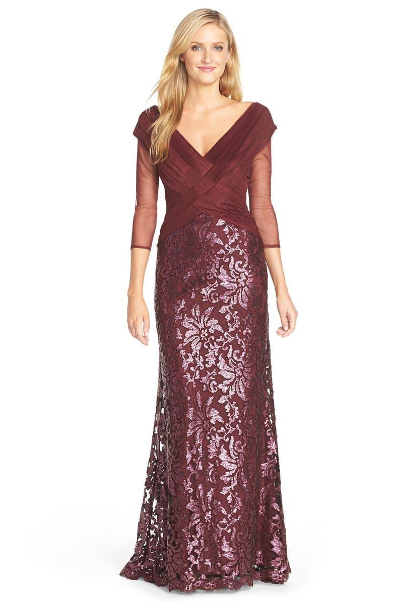 b6f562134ef0 Tadashi Shoji Sequin Lace Gown (Regular & Petite)   Nordstrom