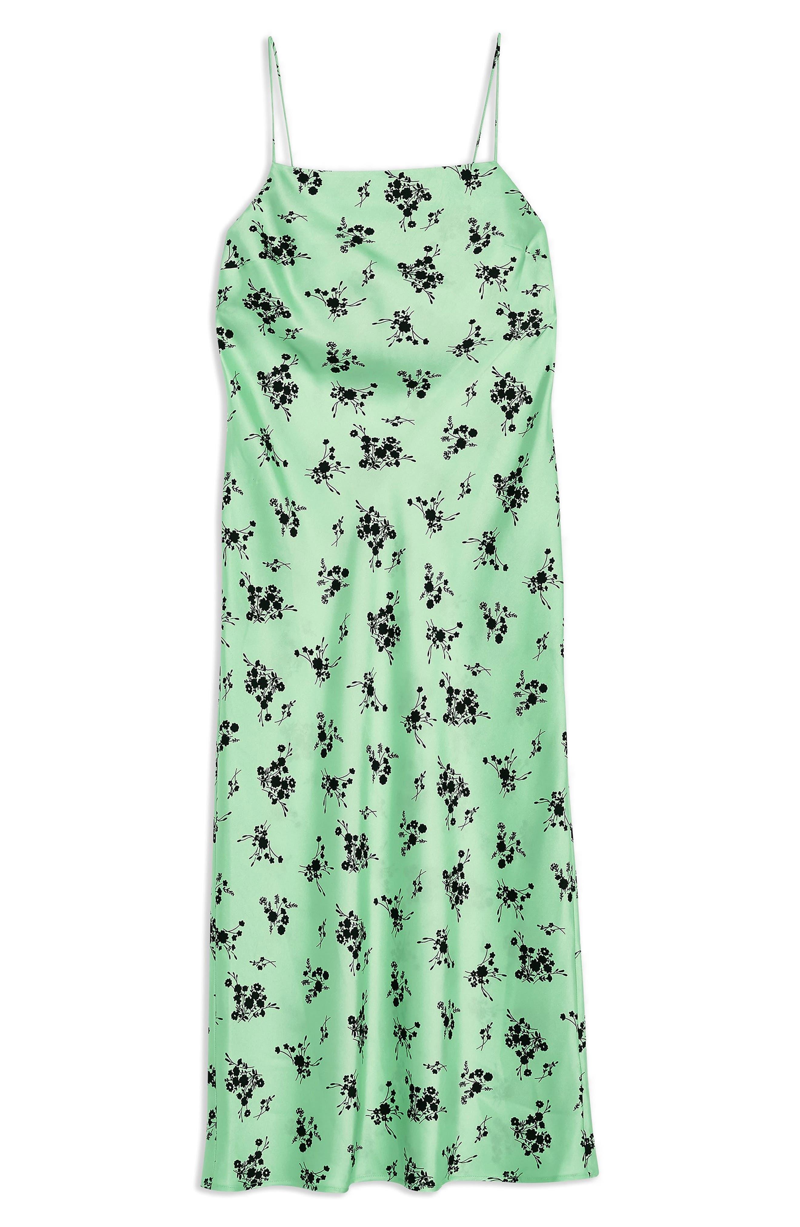 TOPSHOP, Apple Flower Satin Slip Dress, Alternate thumbnail 3, color, BRIGHT GREEN MULTI