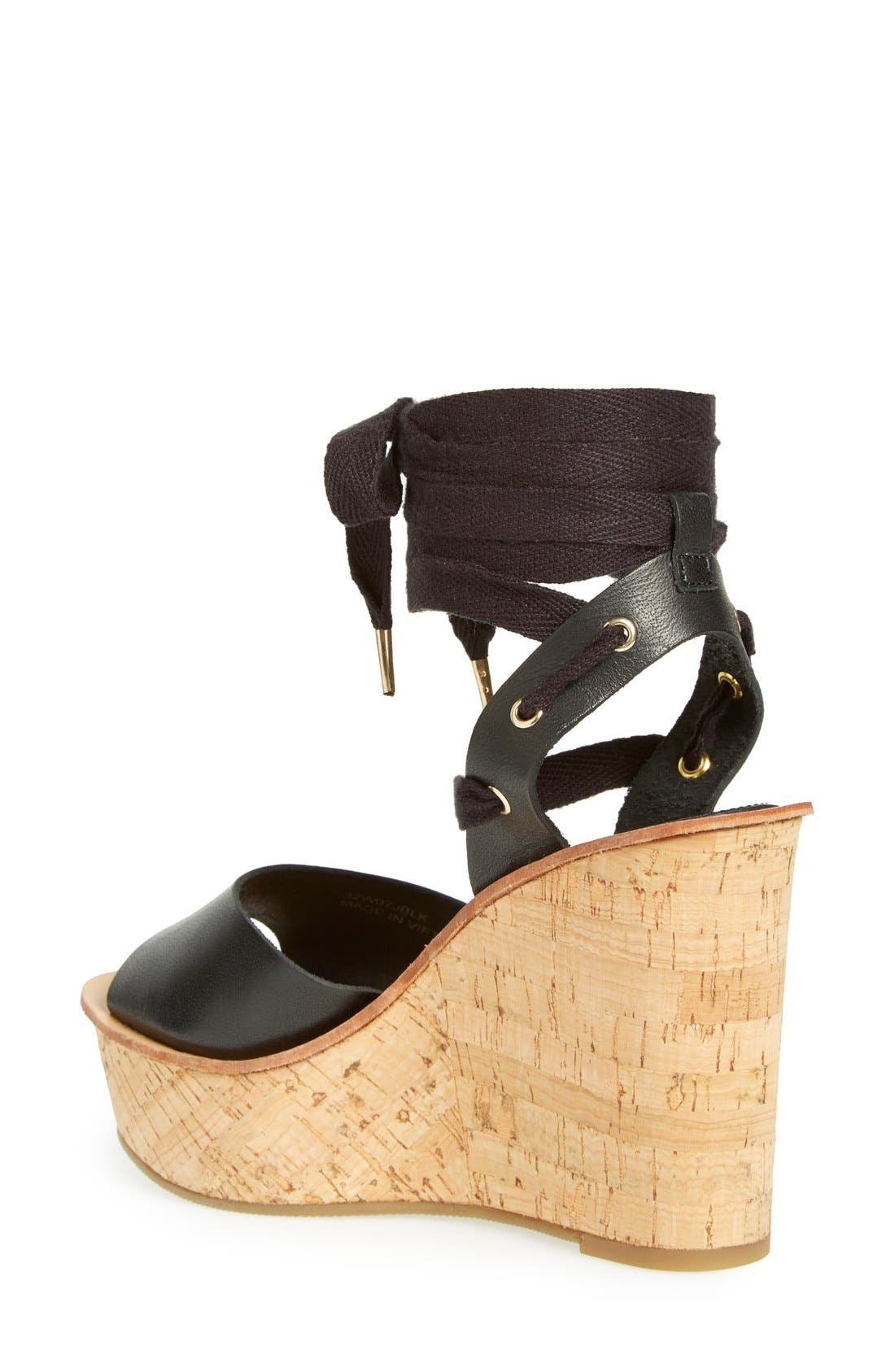 TOPSHOP, 'Wise' Platform Wedge Sandal, Alternate thumbnail 2, color, 001