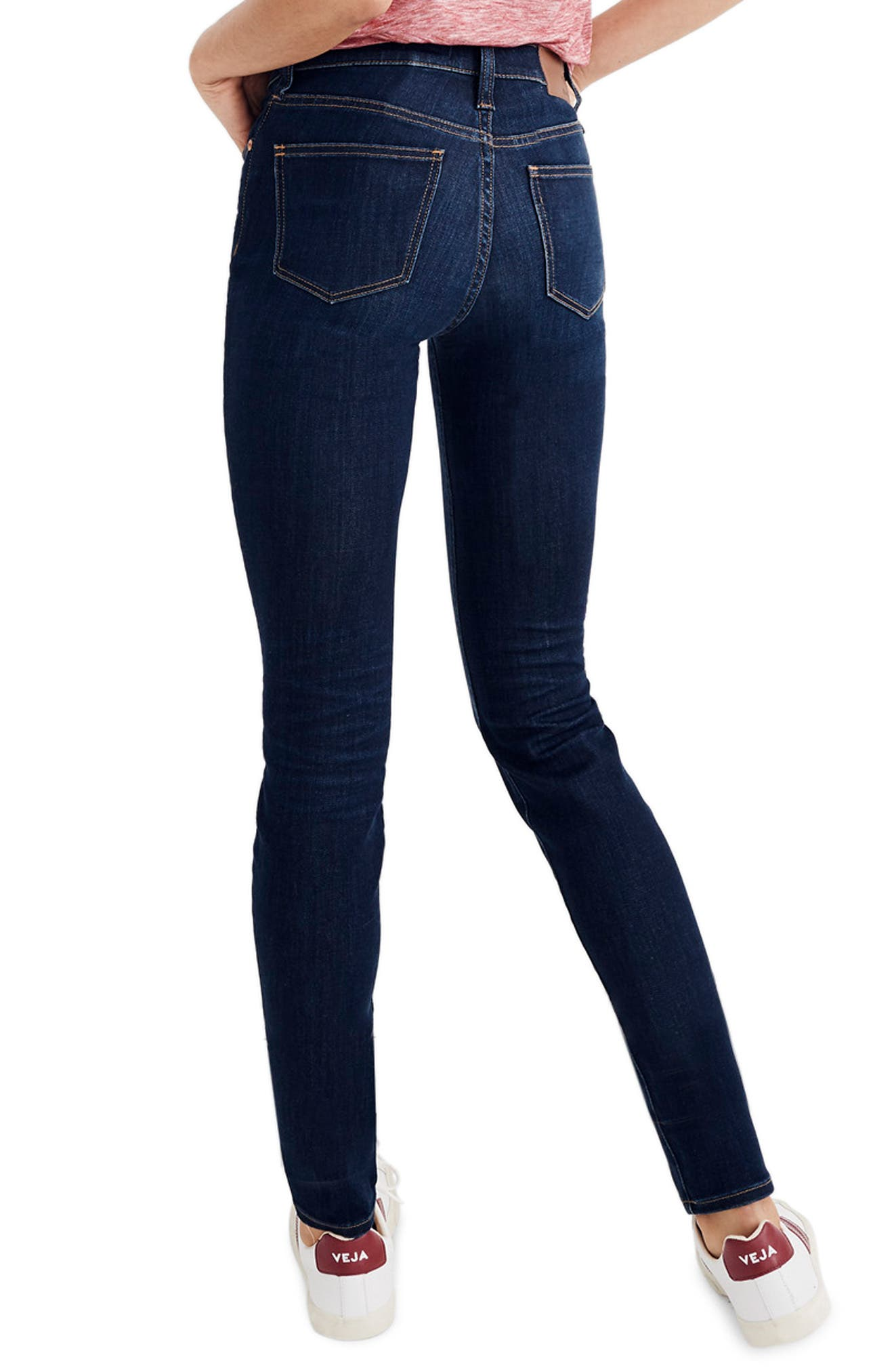 MADEWELL, 9-Inch High Rise Skinny Jeans, Alternate thumbnail 4, color, LARKSPUR