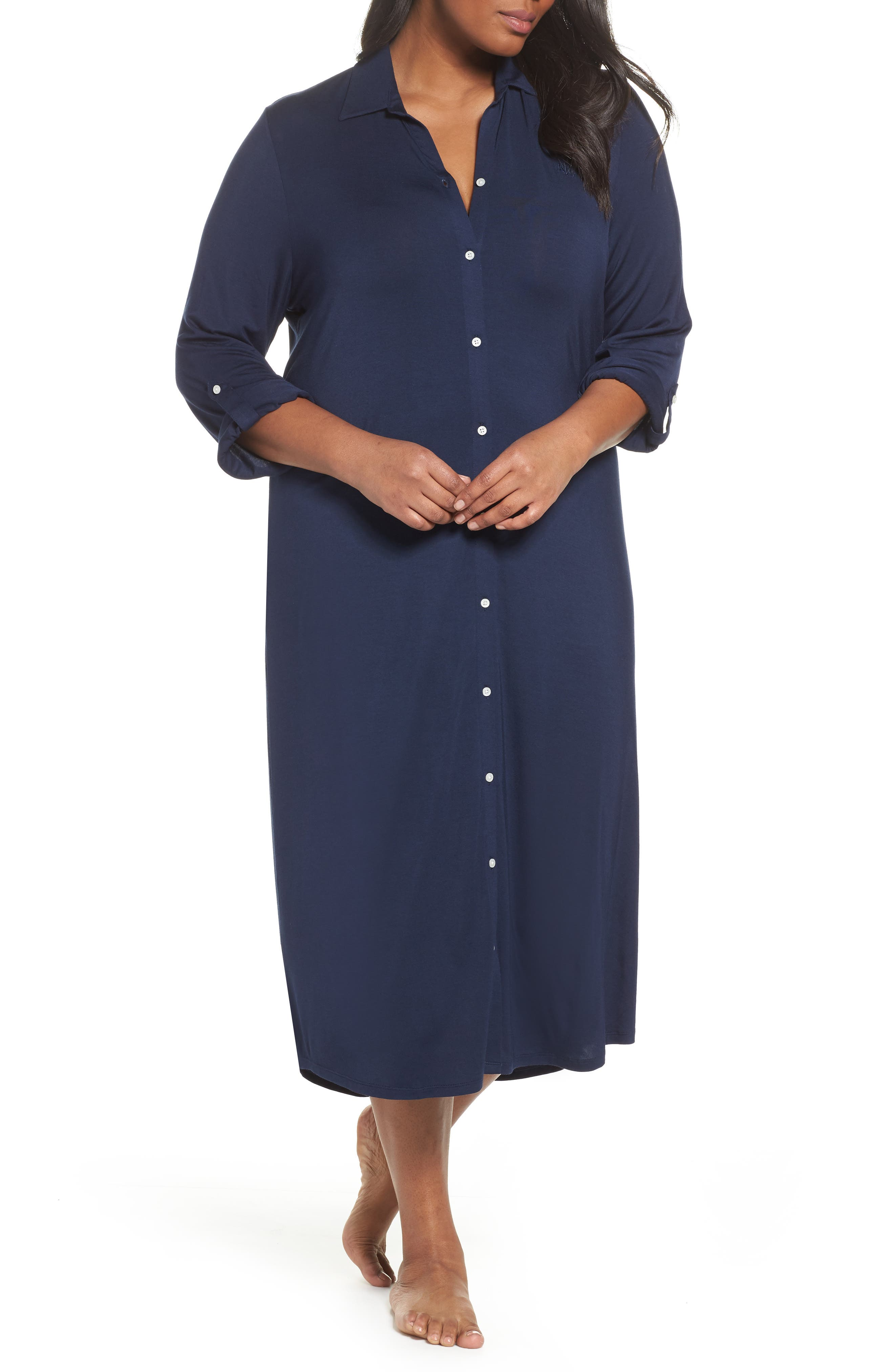 LAUREN RALPH LAUREN, Long Nightshirt, Main thumbnail 1, color, SPRING NAVY