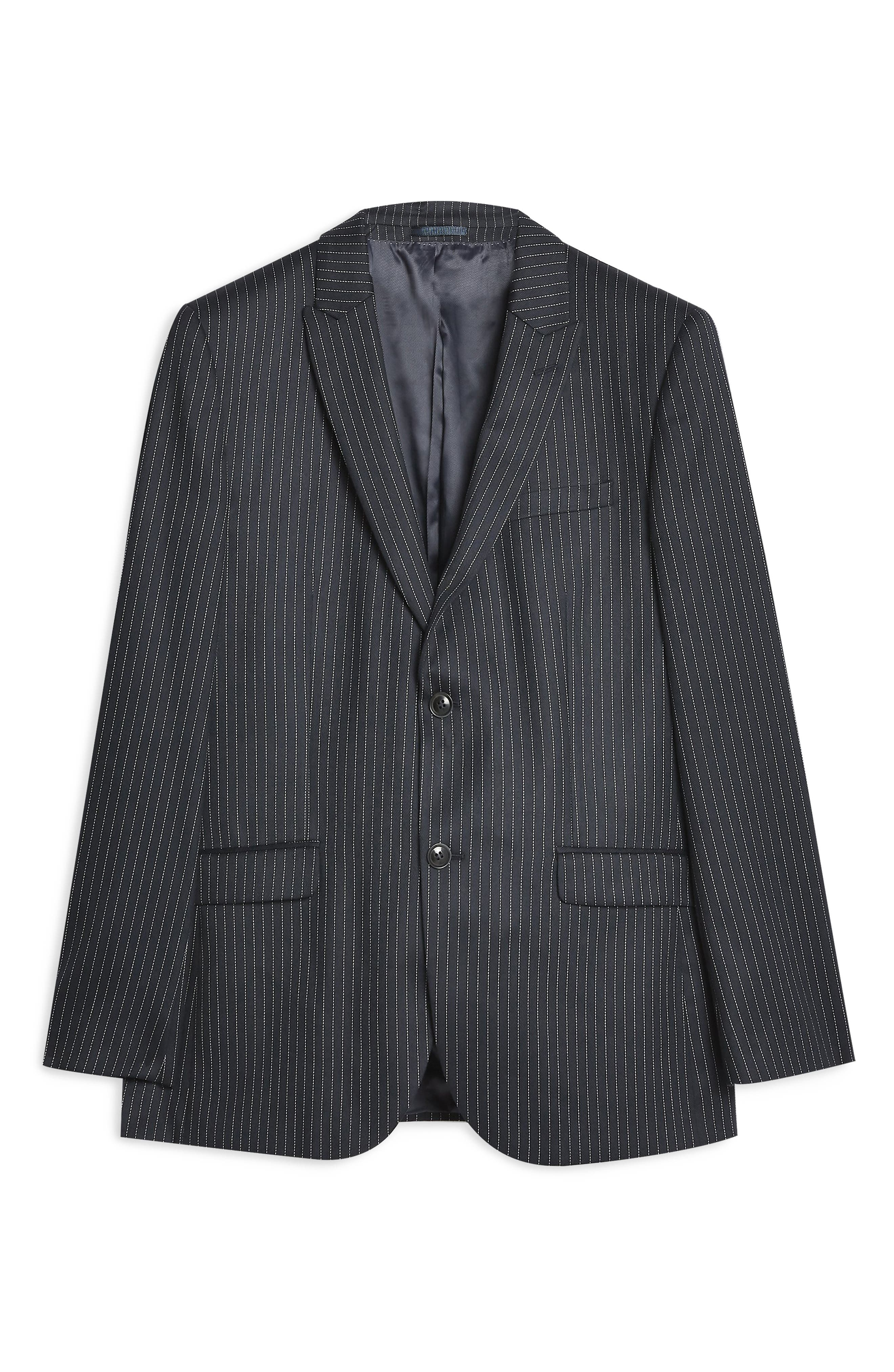TOPMAN, Tailored Pinstripe Suit Jacket, Alternate thumbnail 5, color, NAVY BLUE