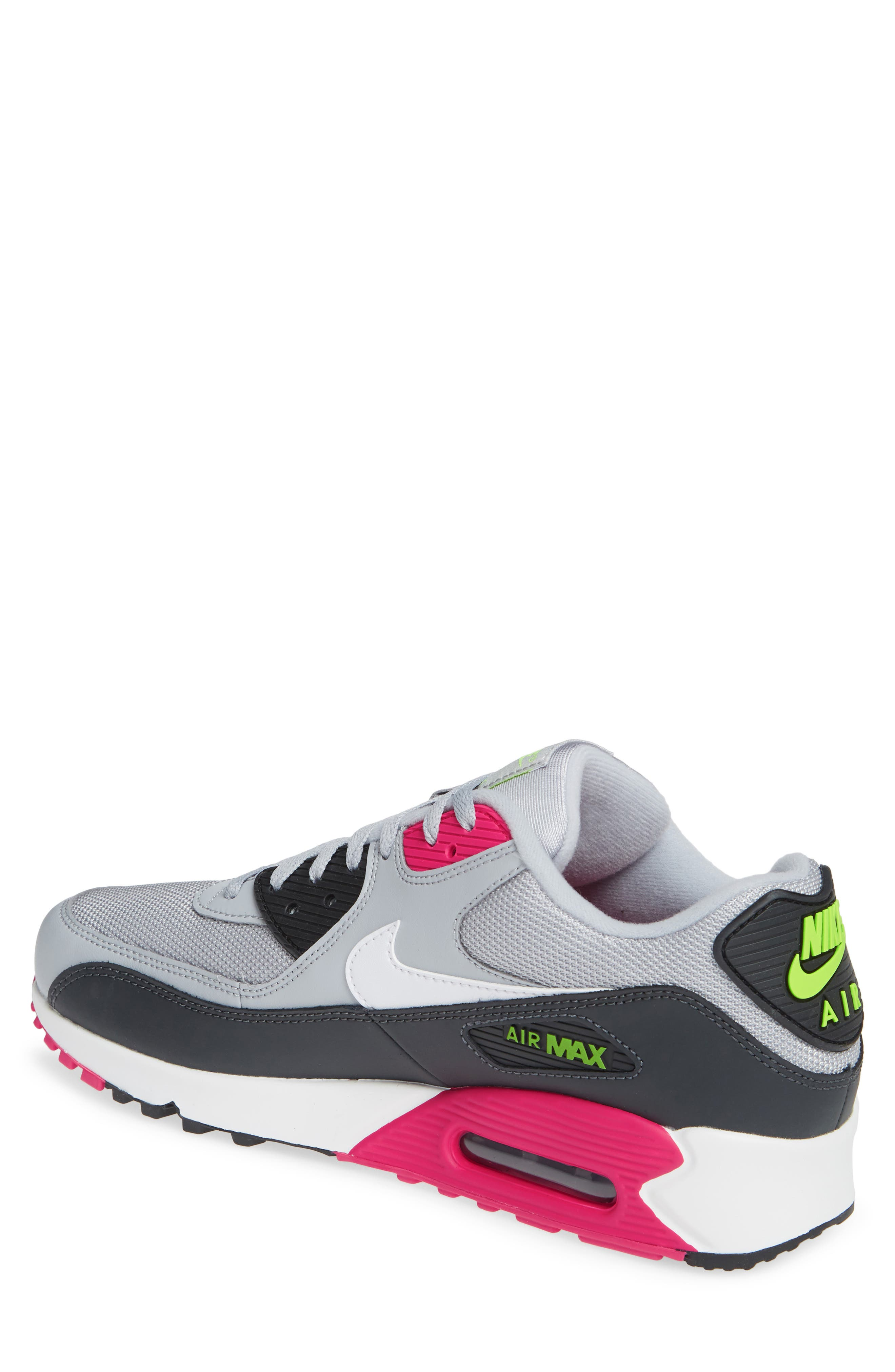 NIKE, Air Max 90 Essential Sneaker, Alternate thumbnail 2, color, WOLF GREY/ WHITE/ PINK