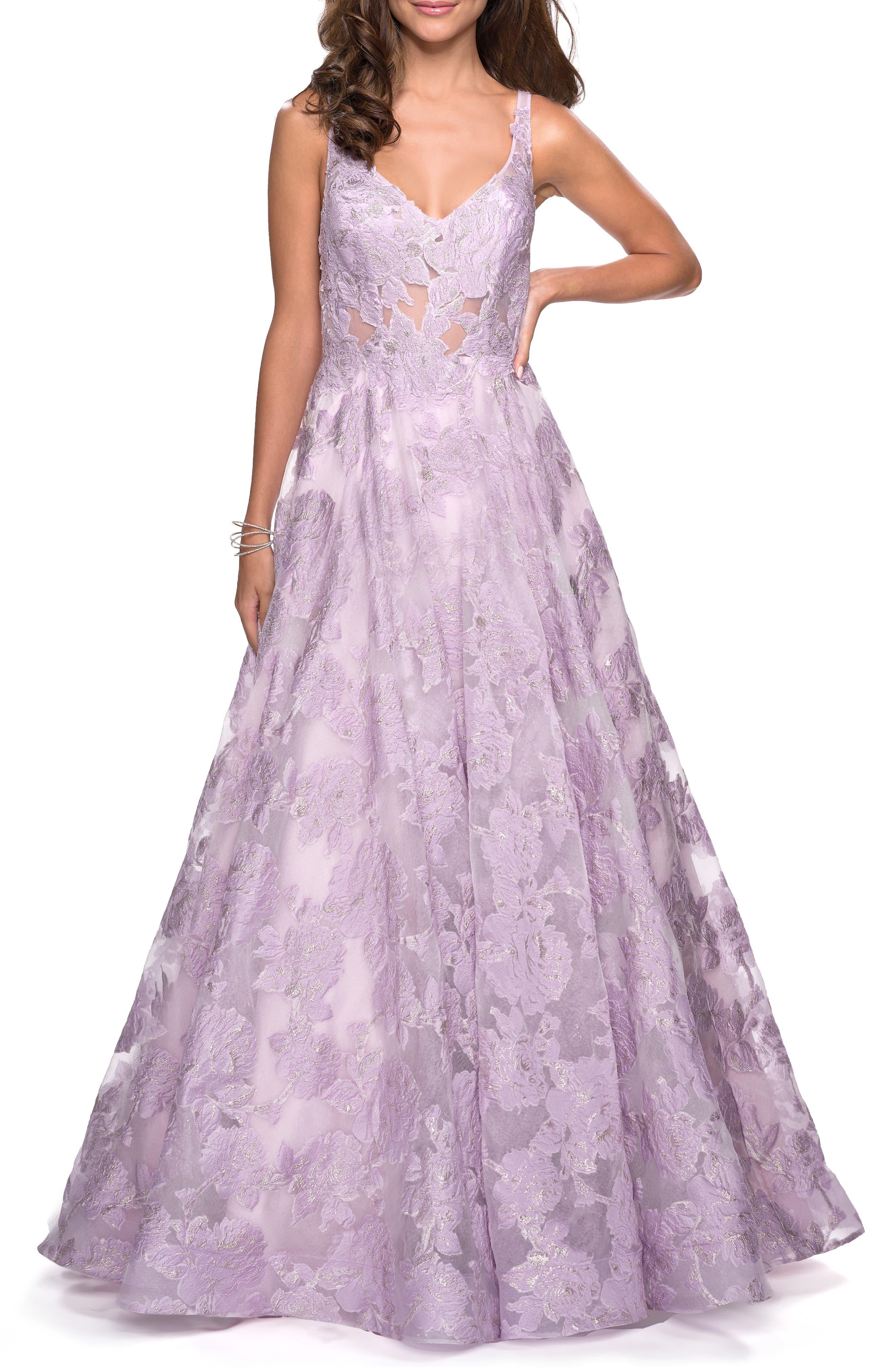 La Femme Lace A-Line Evening Dress