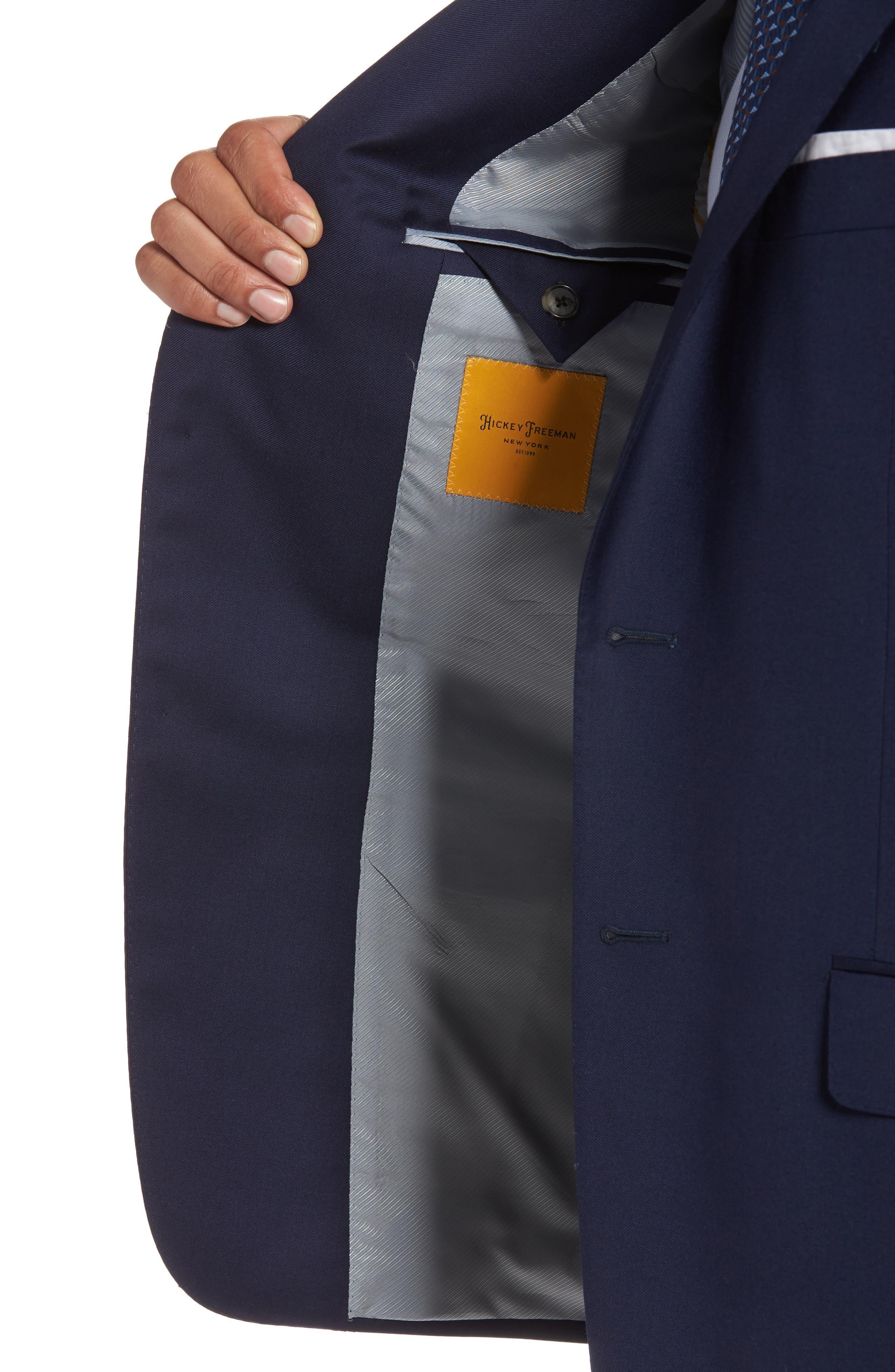HICKEY FREEMAN, Classic B Fit Loro Piana Wool Suit, Alternate thumbnail 4, color, NAVY