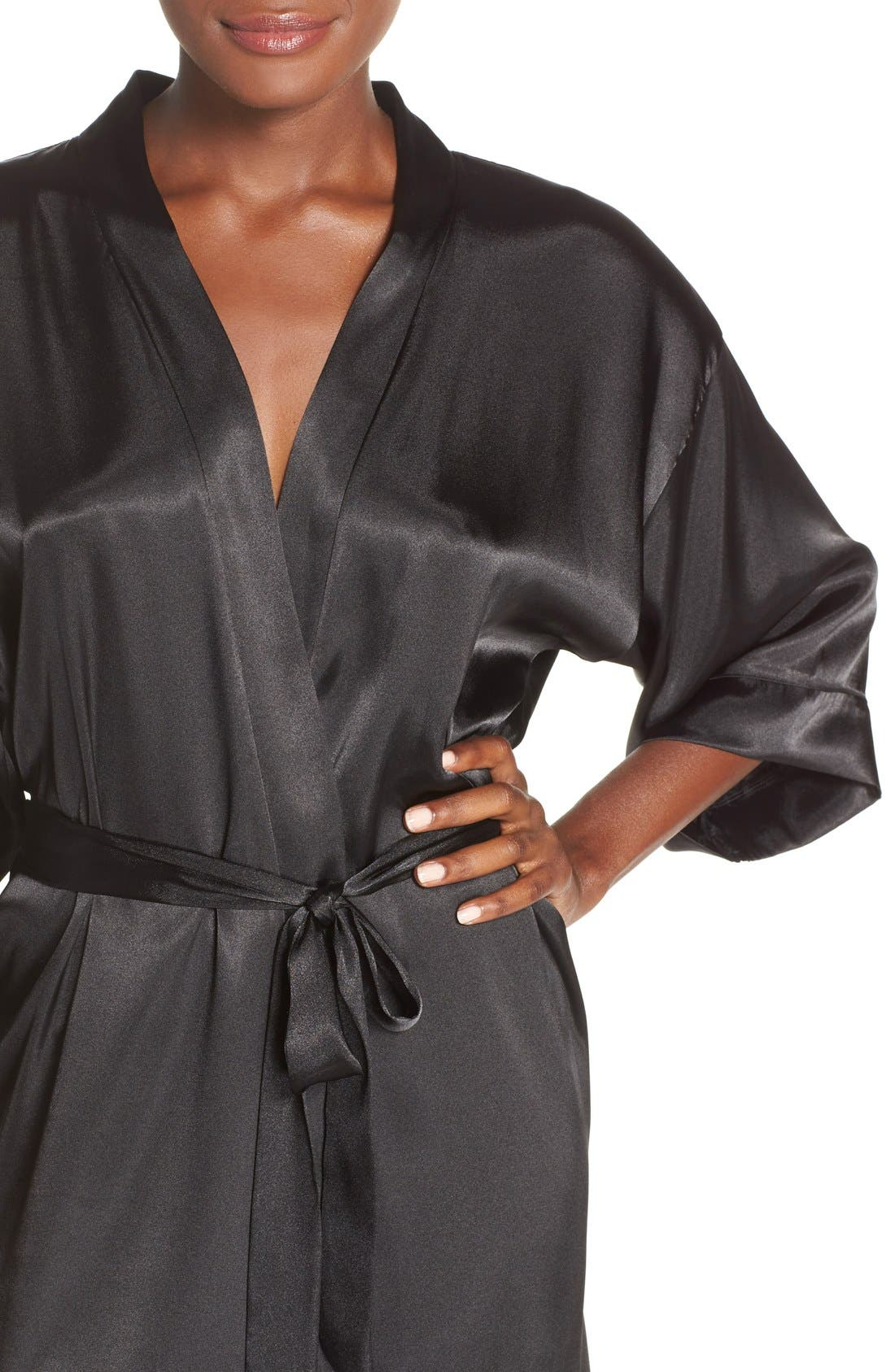 IN BLOOM BY JONQUIL, Satin Robe, Alternate thumbnail 5, color, BLACK