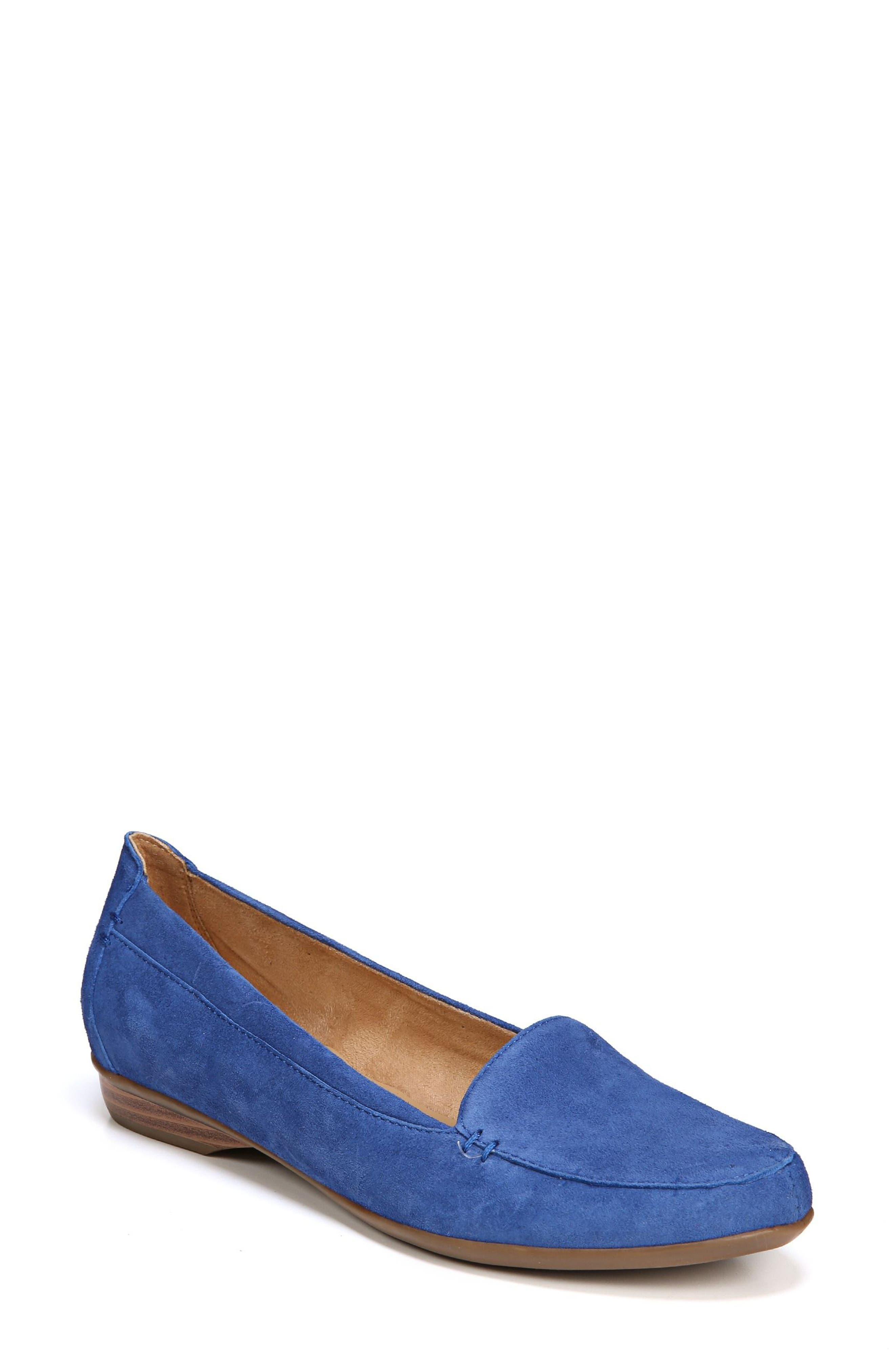 NATURALIZER, 'Saban' Leather Loafer, Main thumbnail 1, color, FRENCH BLUE SUEDE