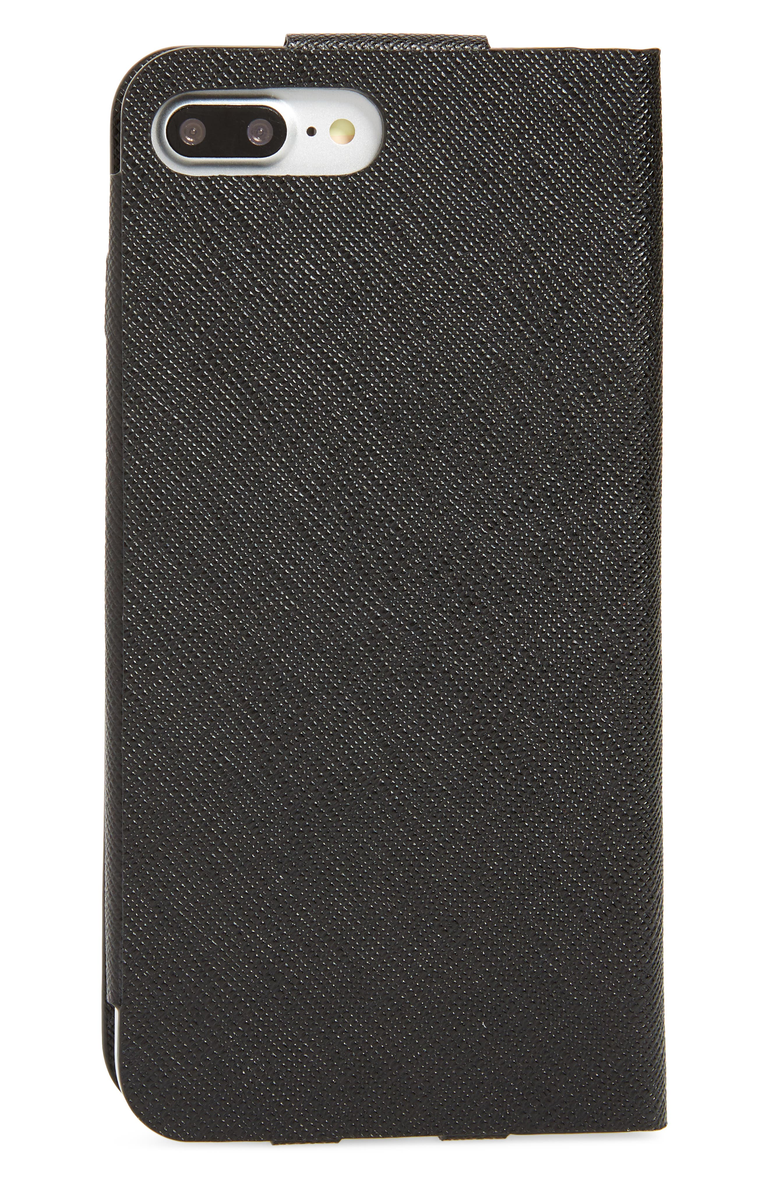 PRADA, Saffiano Metal Oro Book iPhone 7 Plus Wallet, Alternate thumbnail 3, color, NERO