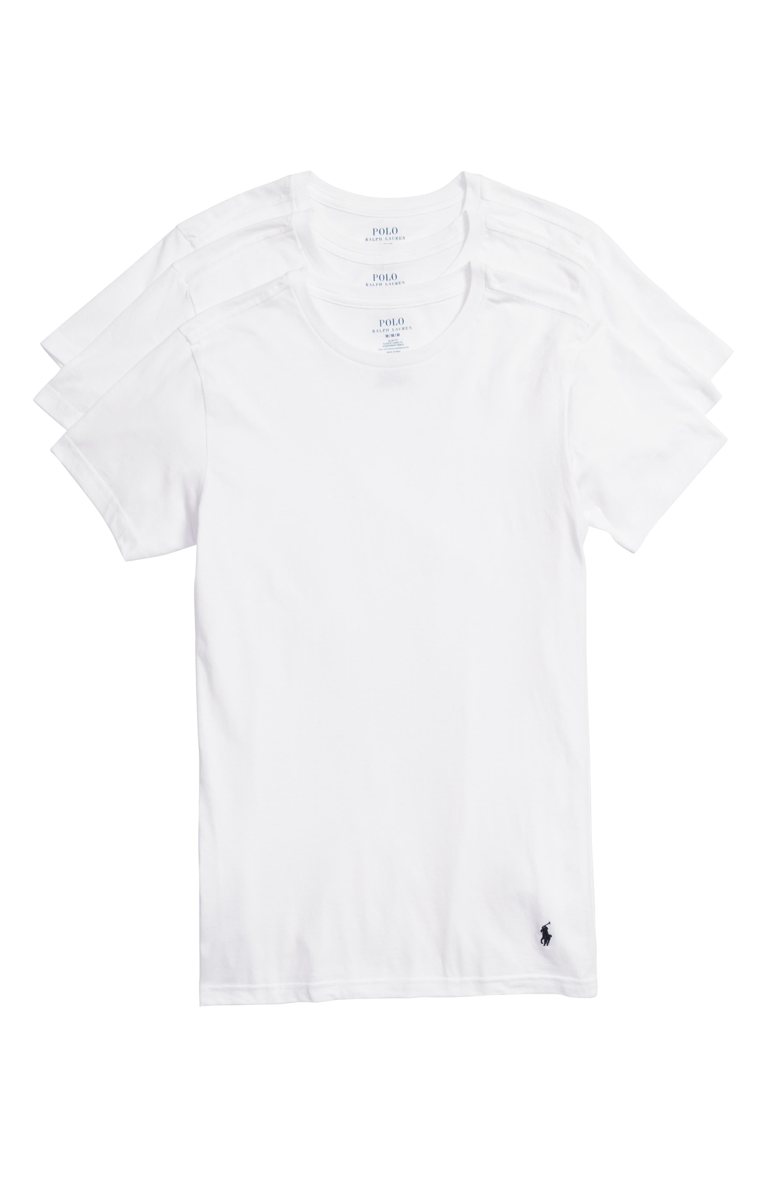 LAUREN RALPH LAUREN, Polo Ralph Lauren 3-Pack Slim Fit Crewneck T-Shirts, Main thumbnail 1, color, WHITE