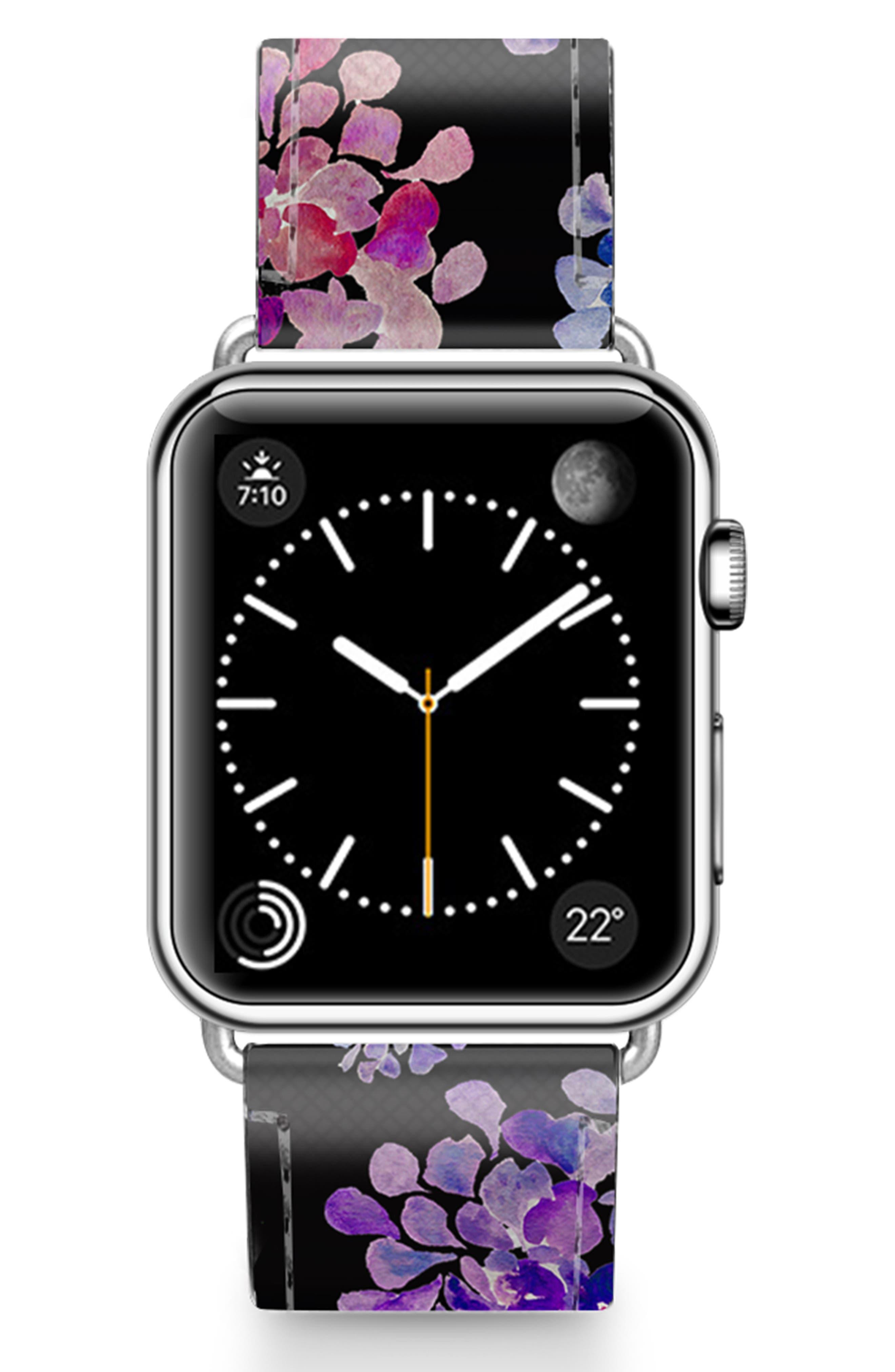 CASETIFY, Saffiano Purple Flowers Faux Leather Apple Watch Strap, Main thumbnail 1, color, BLACK/ SILVER