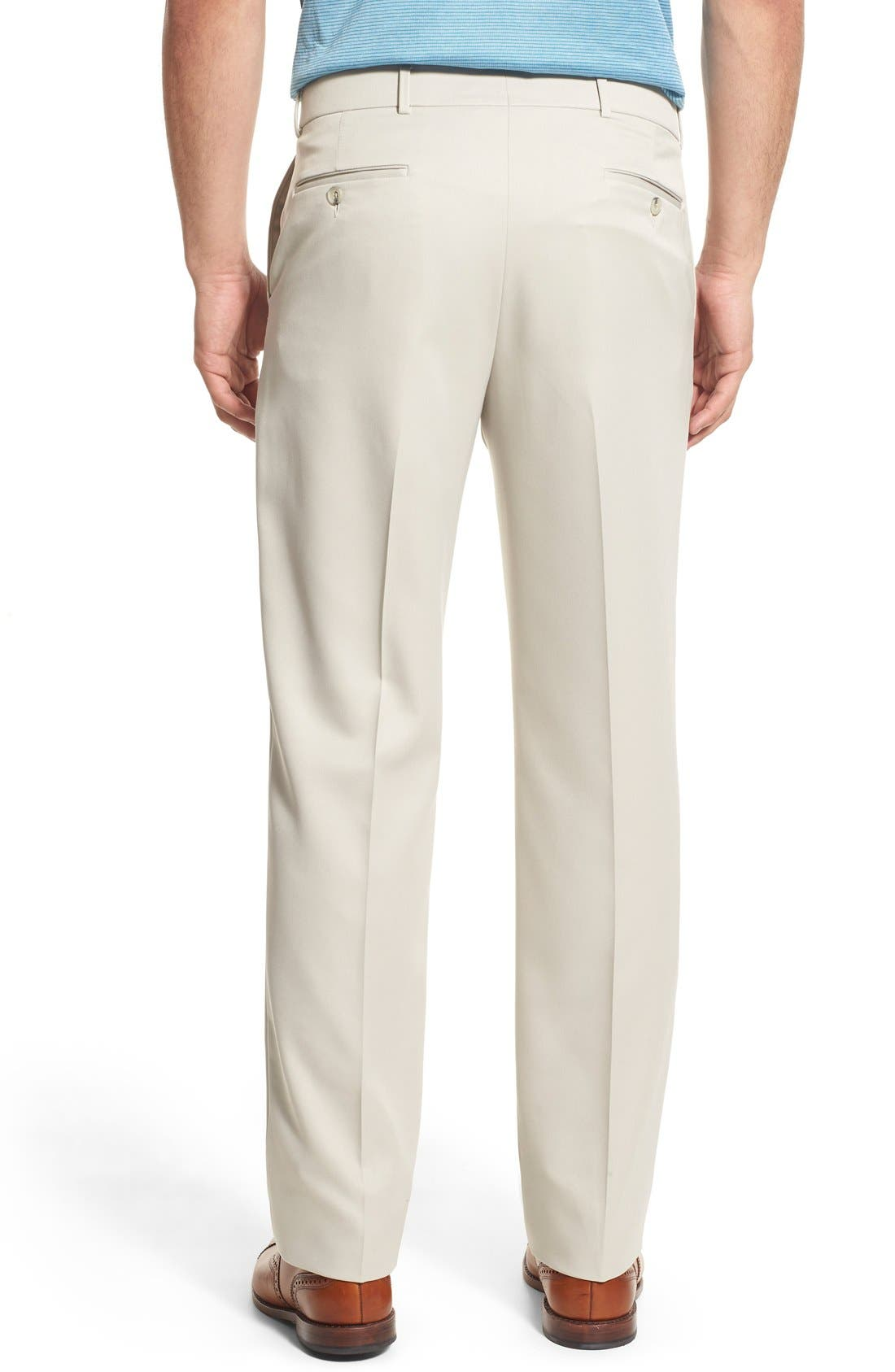 BALLIN, Regular Fit Flat Front Trousers, Alternate thumbnail 8, color, OYSTER