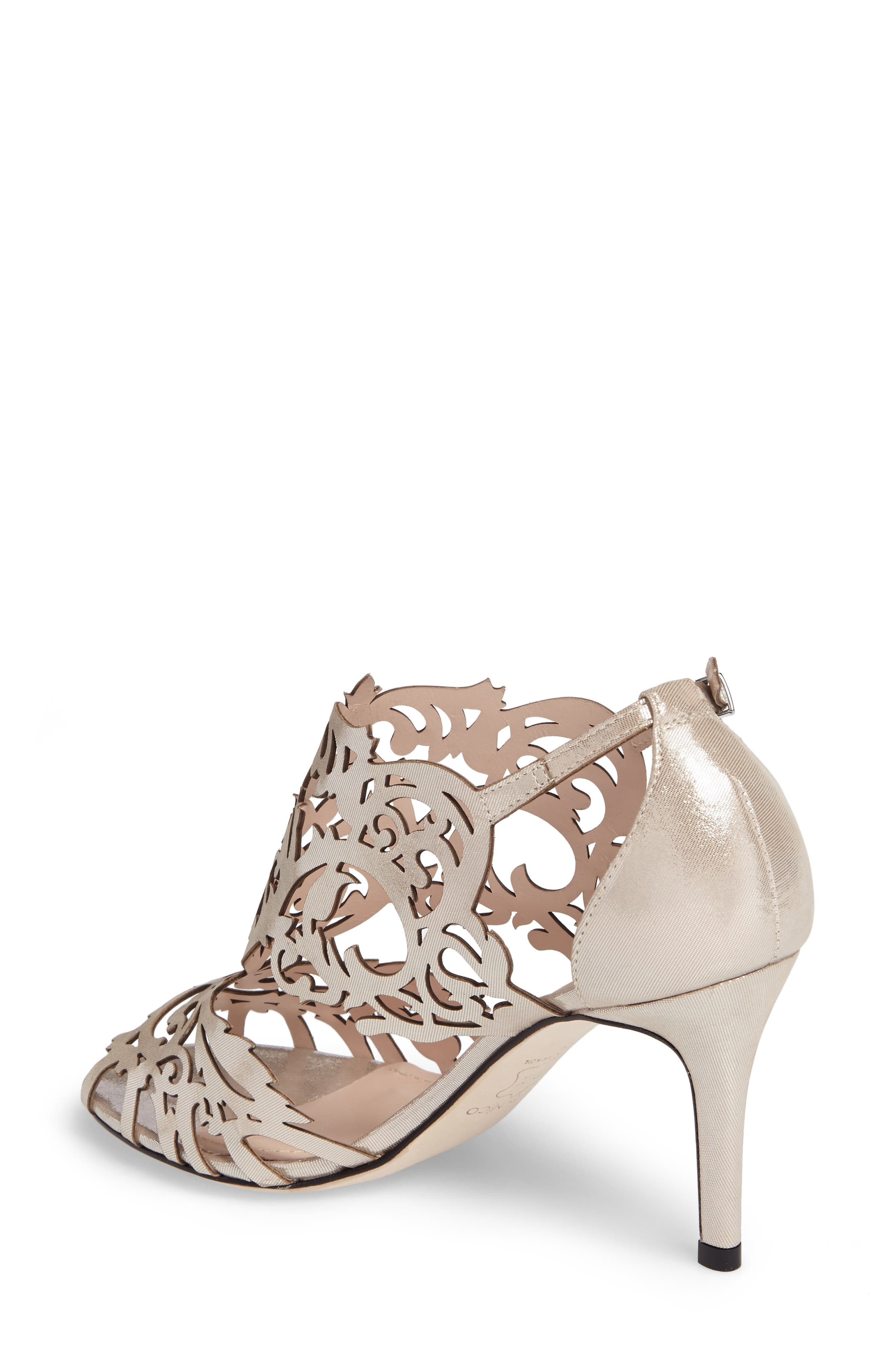 KLUB NICO, Marcela 3 Laser Cutout Sandal, Alternate thumbnail 2, color, SILVER LEATHER