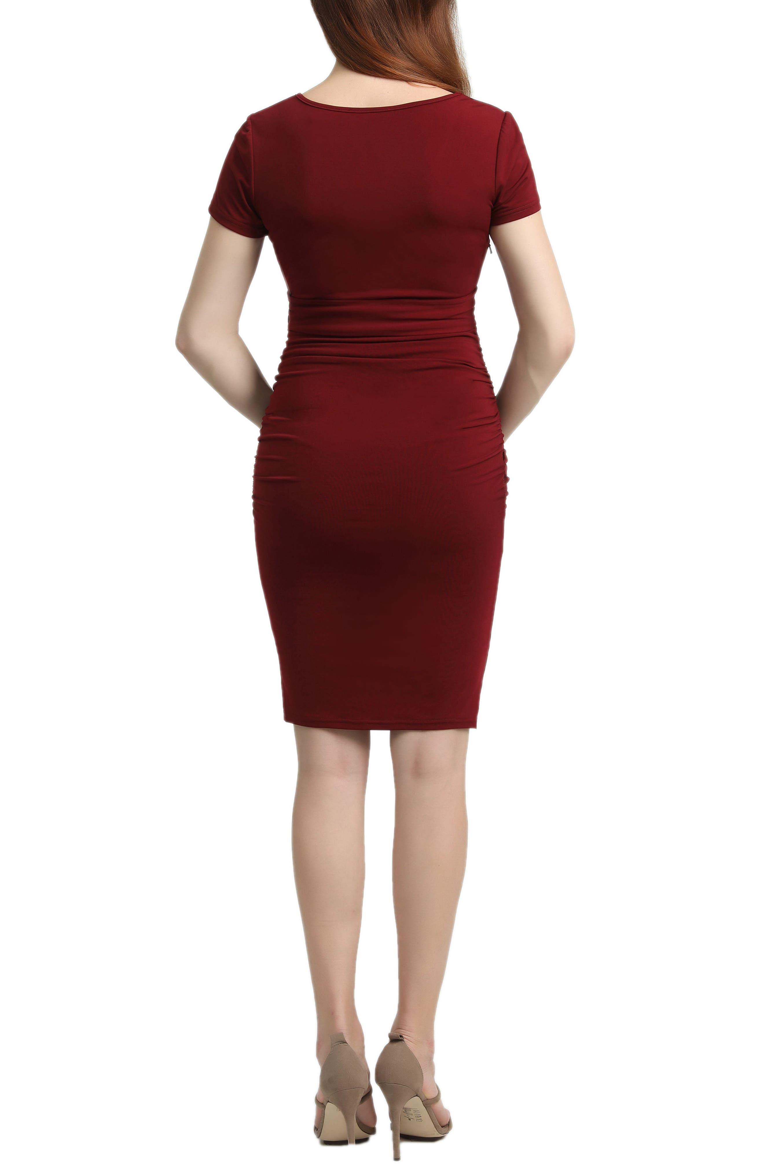 KIMI AND KAI, Lana Ruched Maternity Dress, Alternate thumbnail 2, color, WINE