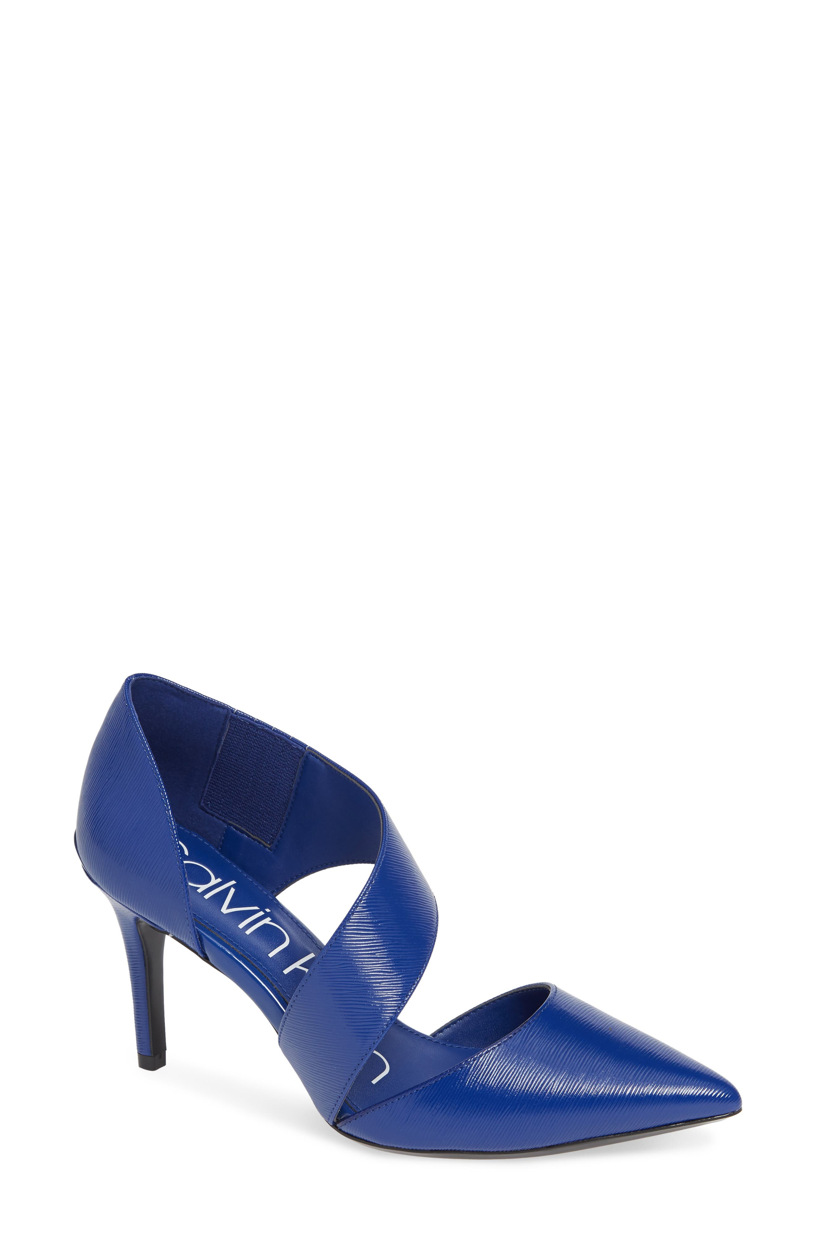 CALVIN KLEIN, 'Gella' Pointy Toe Pump, Main thumbnail 1, color, ROYAL BLUE PATENT LEATHER