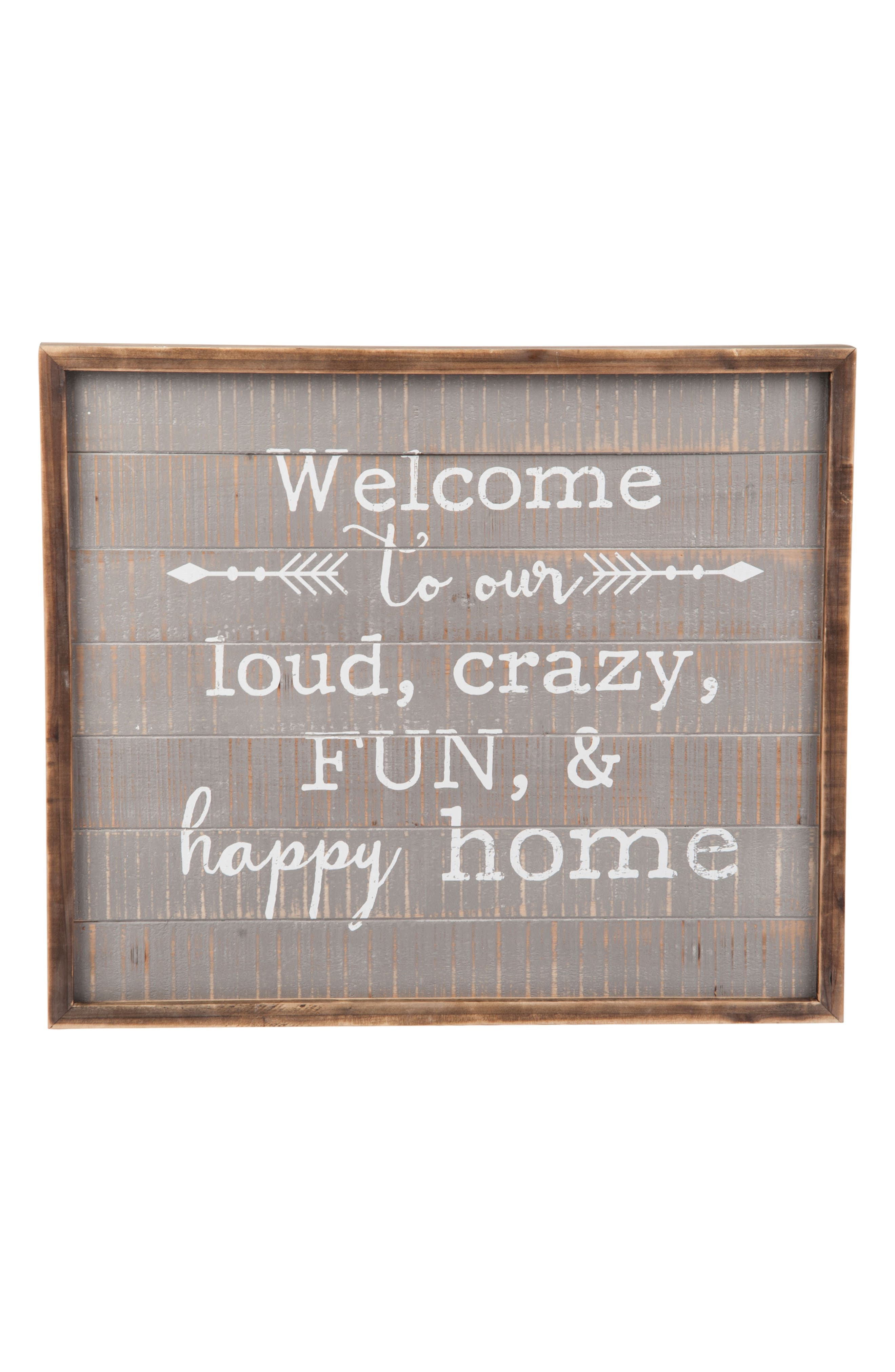 FORESIDE, Welcome to Our Home Wall Art, Main thumbnail 1, color, BROWN/GRAY/WHITE