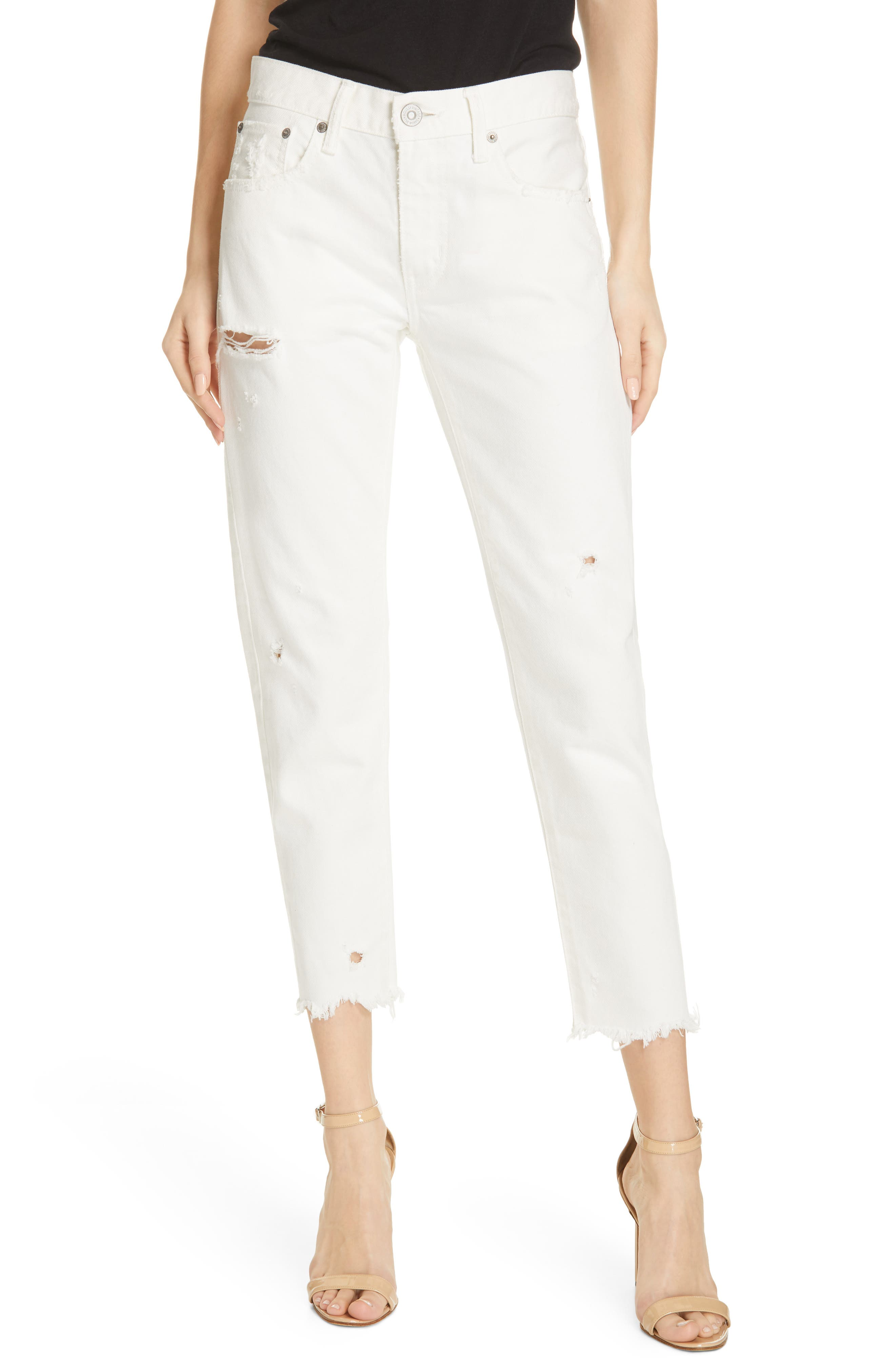 MOUSSY VINTAGE, Kelley Tapered Crop Jeans, Main thumbnail 1, color, WHITE