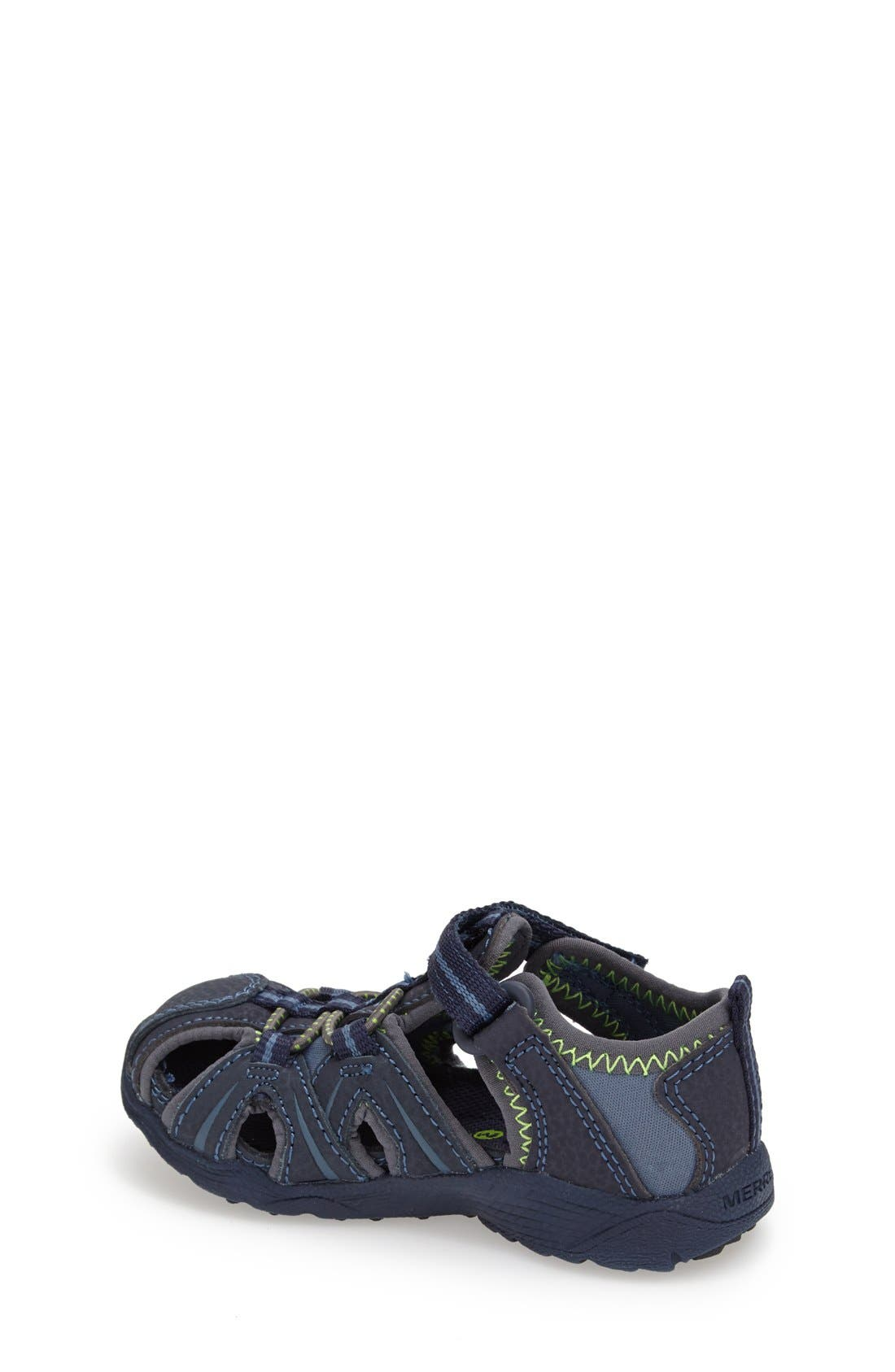 MERRELL, 'Hydro Junior' M-Select Water Sandal, Alternate thumbnail 4, color, NAVY/ GREEN