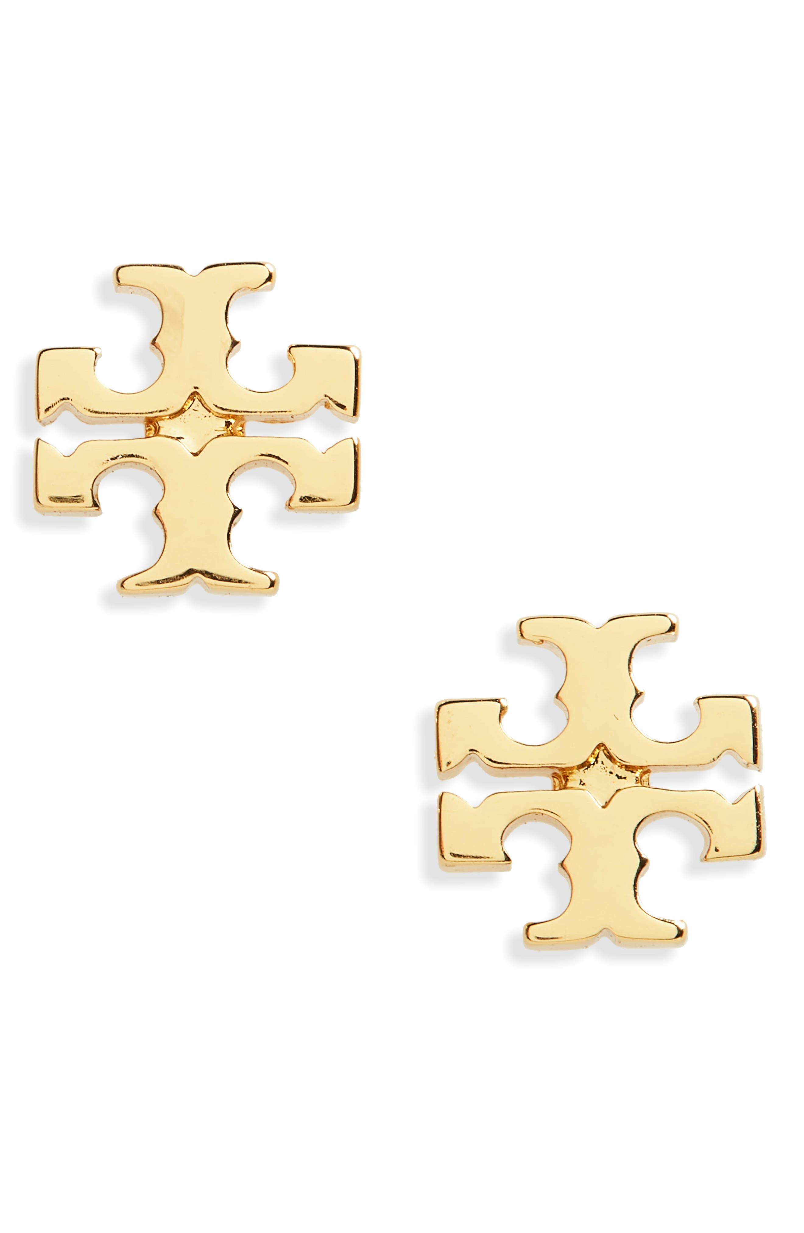 TORY BURCH, Logo Stud Earrings, Main thumbnail 1, color, TORY GOLD