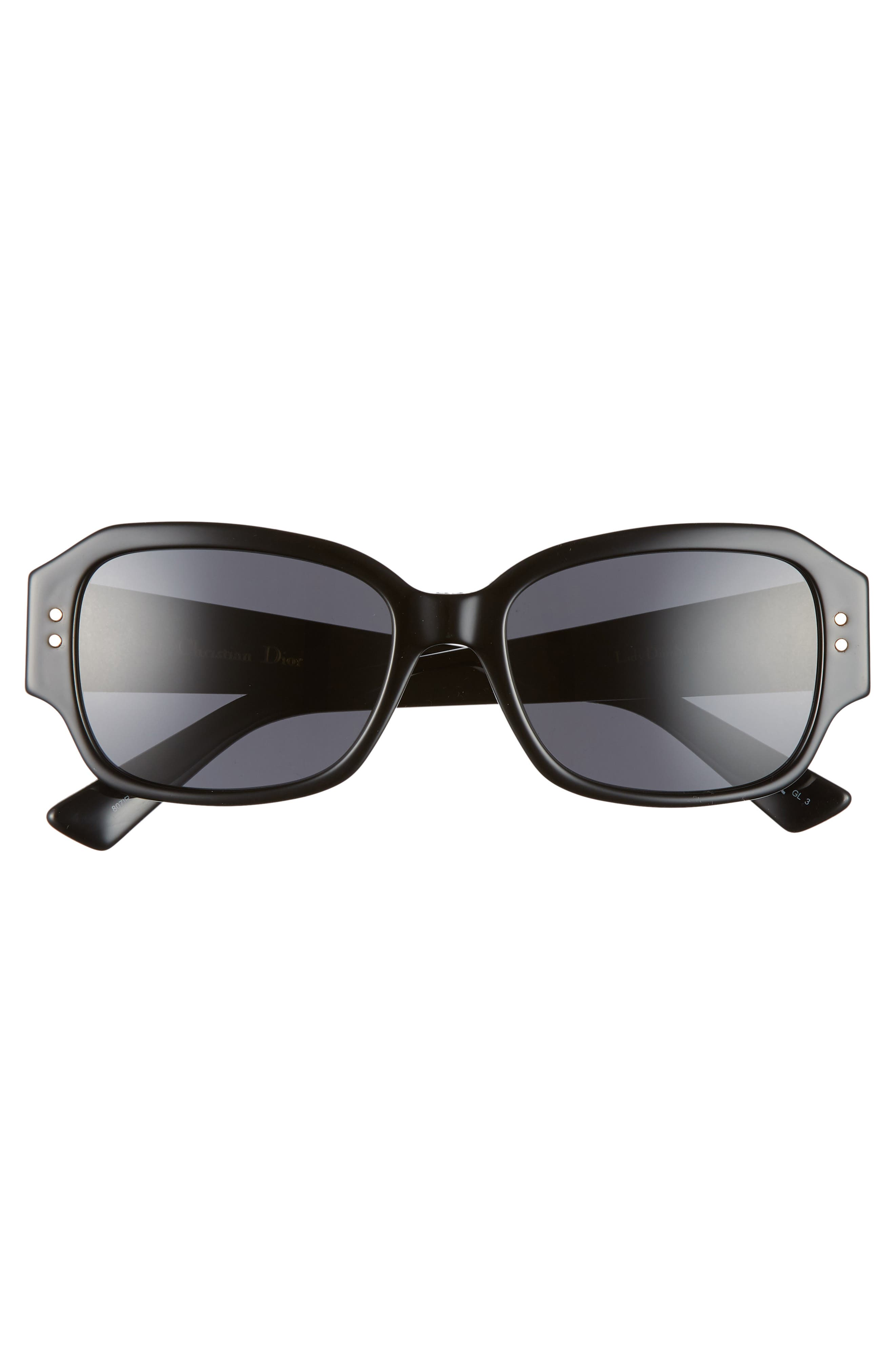 DIOR, Ladydiorstuds5 54mm Sunglasses, Alternate thumbnail 3, color, BLACK