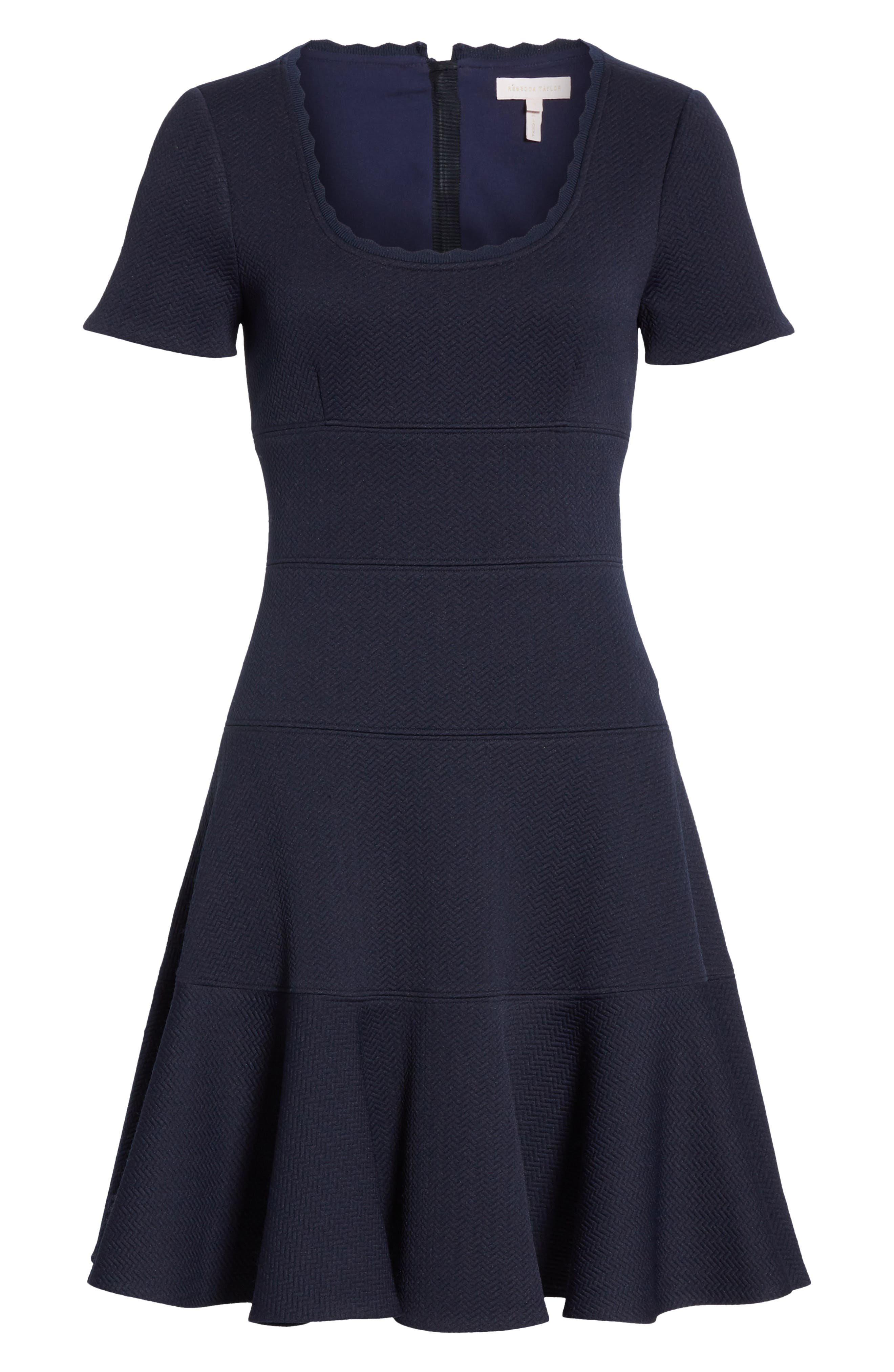 REBECCA TAYLOR, Textured Scallop Detail Fit & Flare Dress, Alternate thumbnail 7, color, NAVY