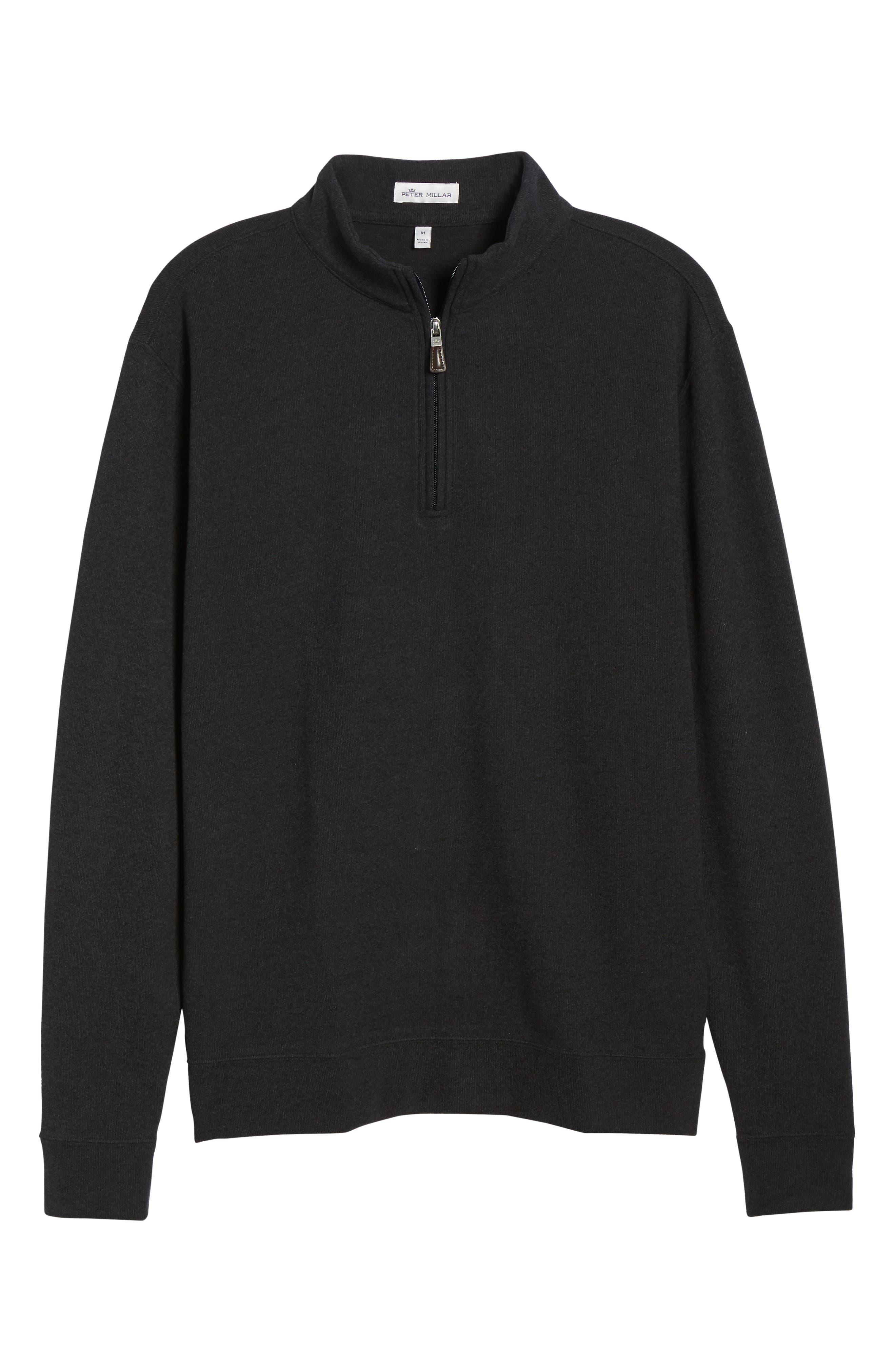 PETER MILLAR, Half Zip Pullover, Alternate thumbnail 6, color, BLACK