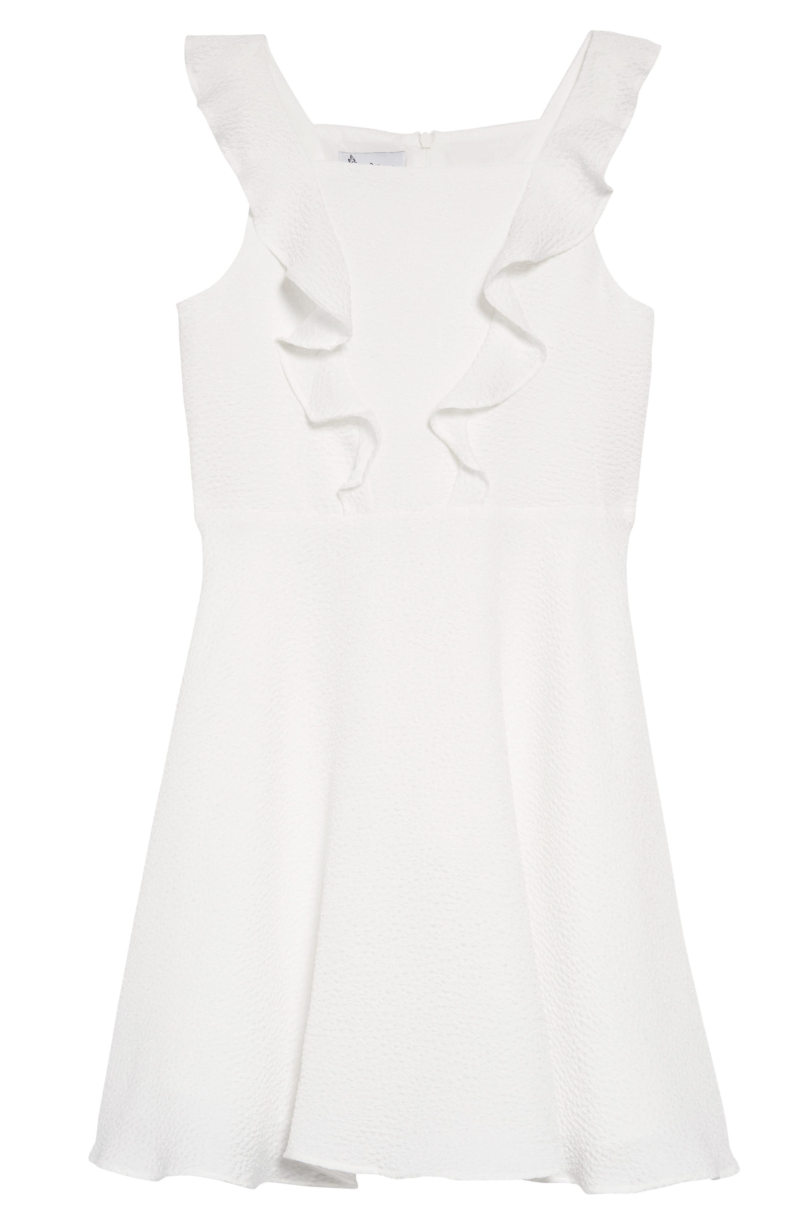PIPPA & JULIE, Flutter Sleeve Dress, Main thumbnail 1, color, WHITE