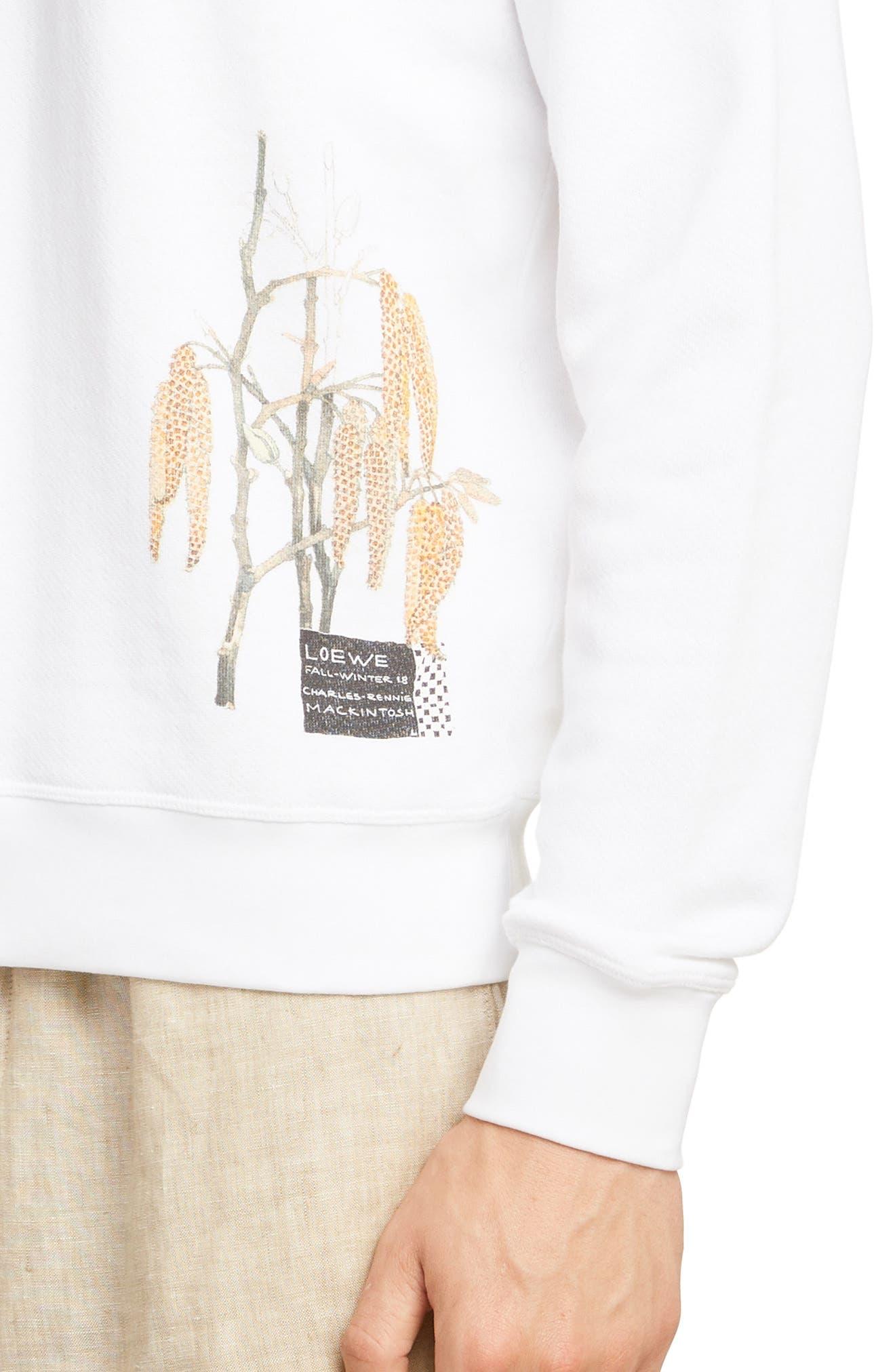 LOEWE, Charles Rennie Mackintosh Collection Botanical Print Sweatshirt, Alternate thumbnail 4, color, 2100-WHITE