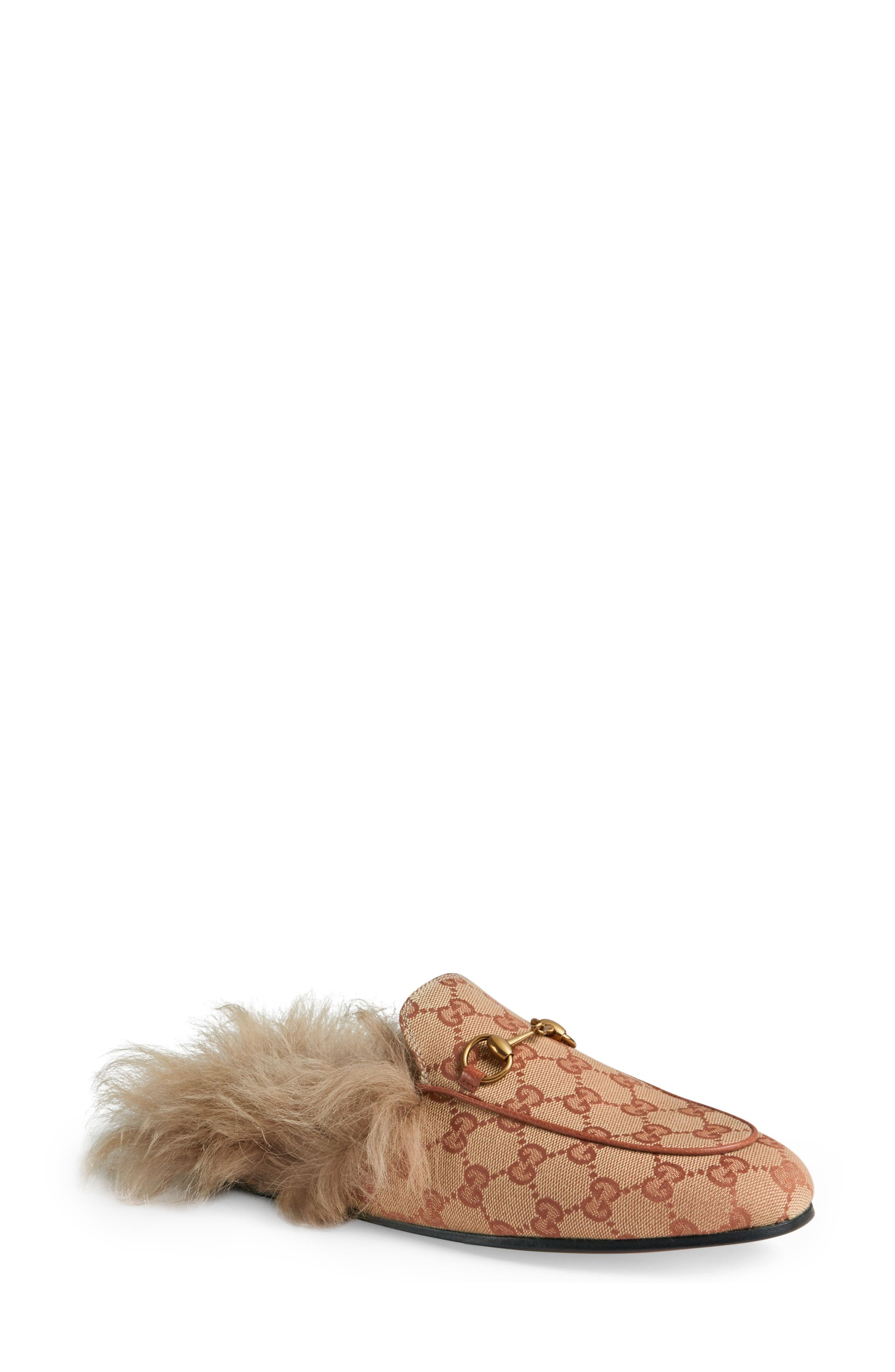 GUCCI, Princetown Genuine Shearling Logo Mule, Main thumbnail 1, color, BEIGE