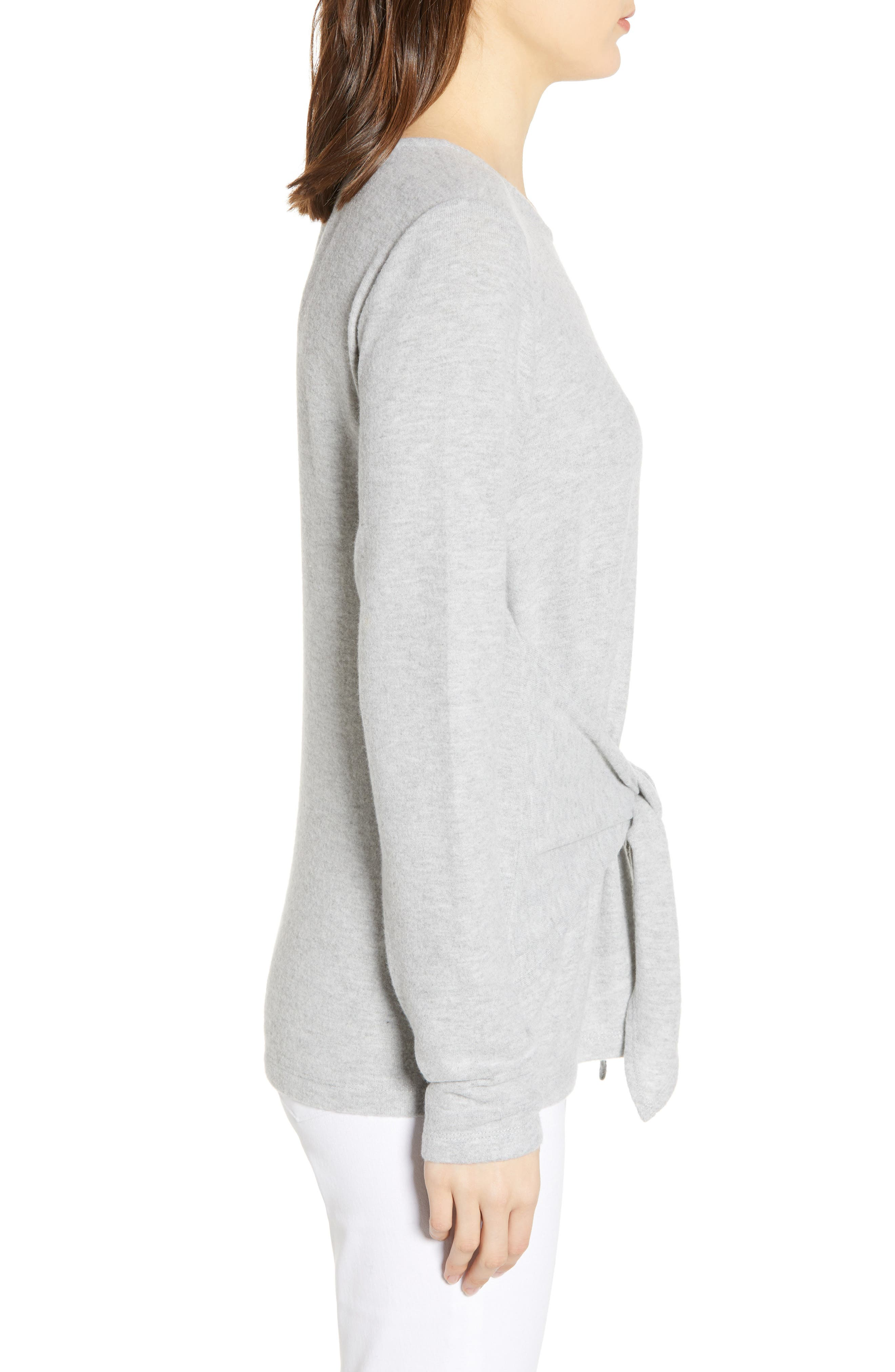 SOCIALITE, Tie Front Top, Alternate thumbnail 3, color, HEATHER GREY